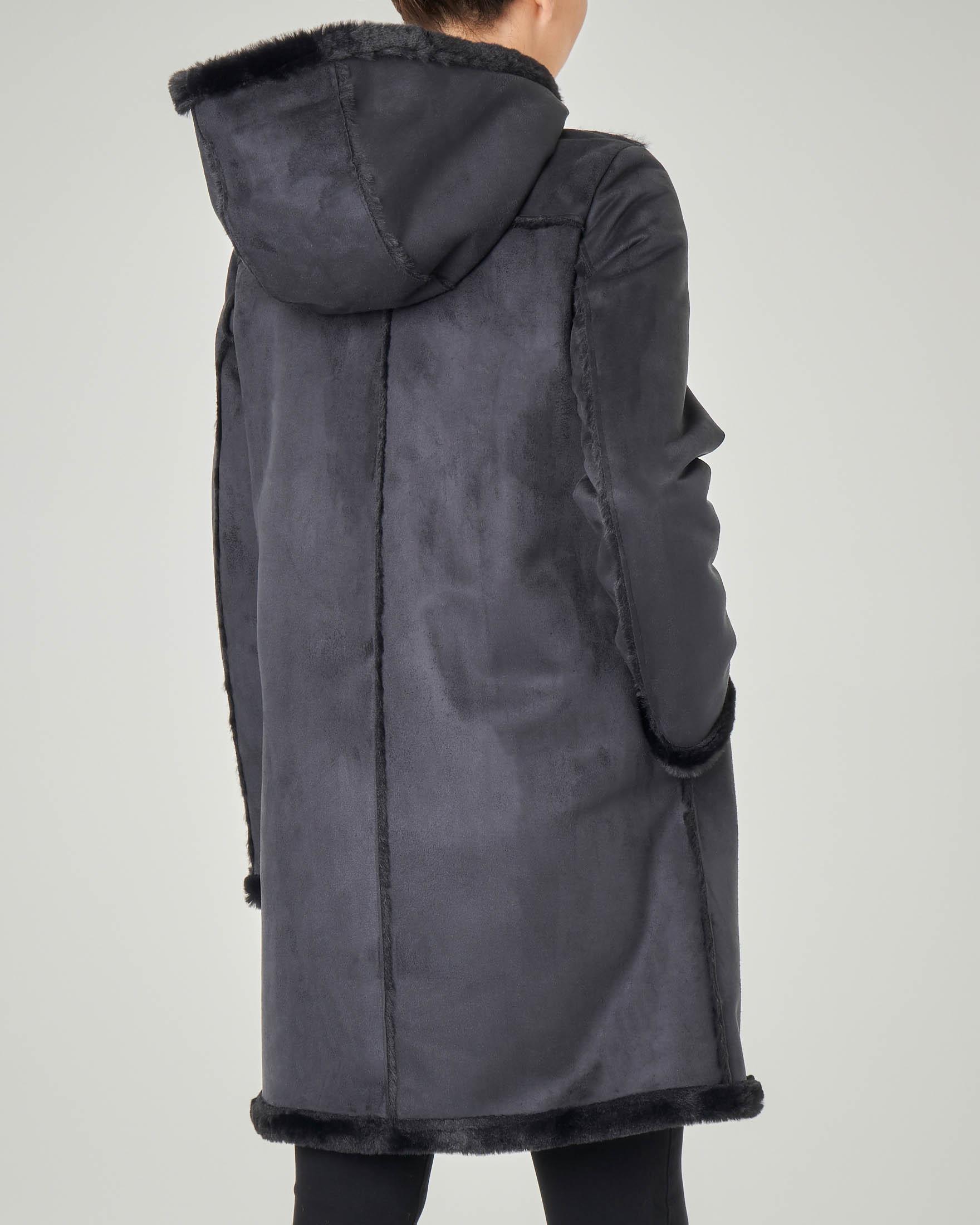 cappotto donna eco montone con cappuccio