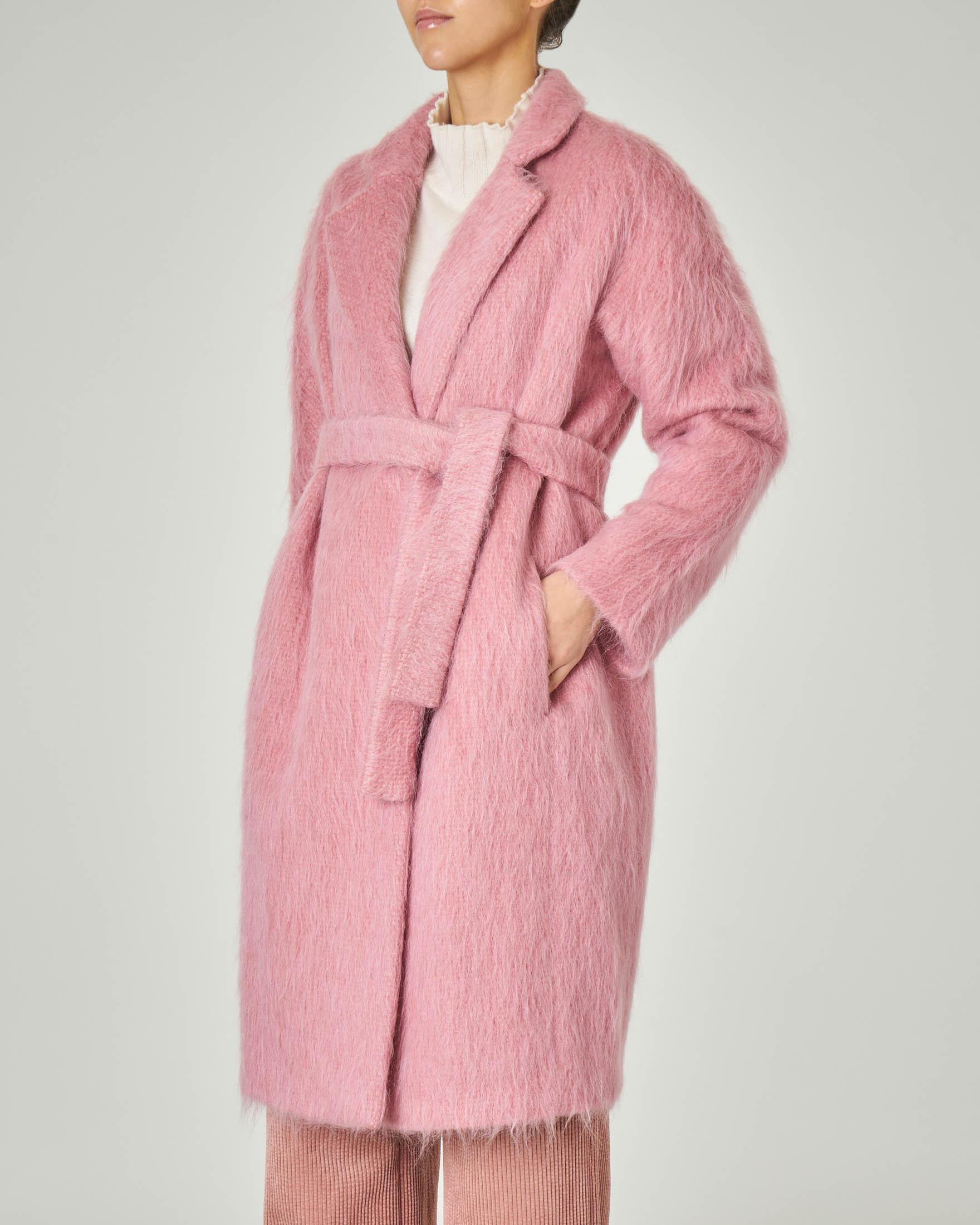 Cappotto rosa in lana misto mohair con collo in piedi e cintura in vita