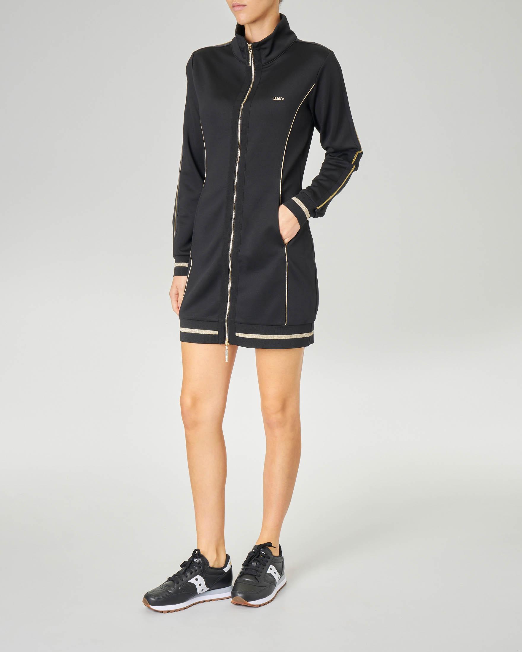 Maxi felpa abito nera con chiusura a cerniera e dettagli in lurex oro