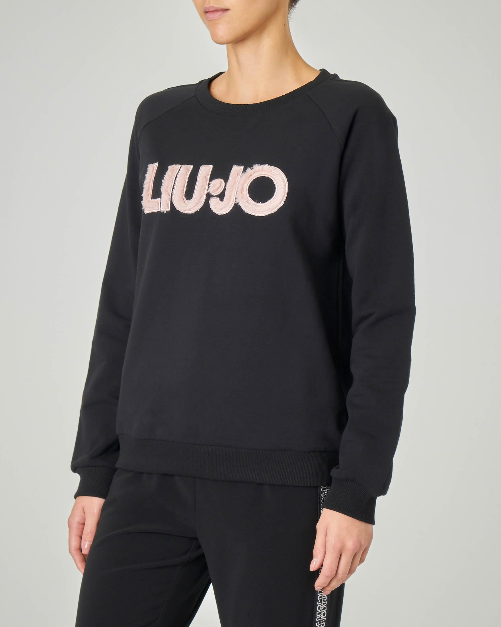 Felpa nera in jersey di cotone con scritta logo rosa effetto peluche