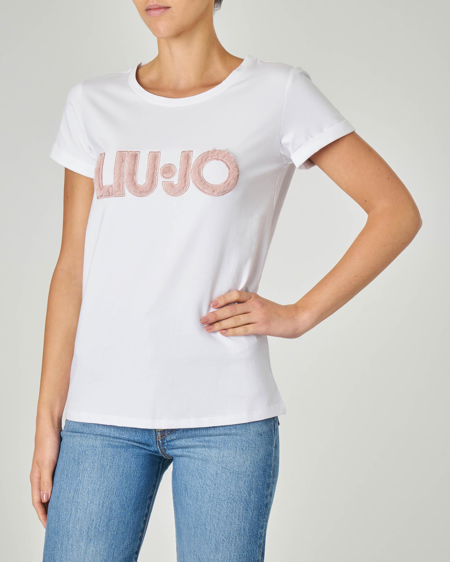 T-shirt bianca in cotone elasticizzata con scritta logo rosa in tessuto effetto peluche
