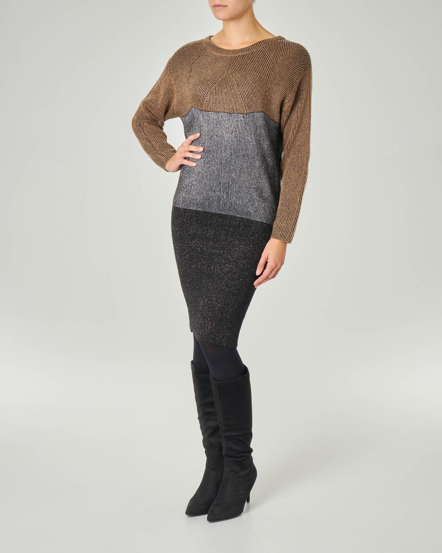 Abito in maglia con maniche a pipistrello in viscosa misto lana con inserti in lurex a blocchi di colore