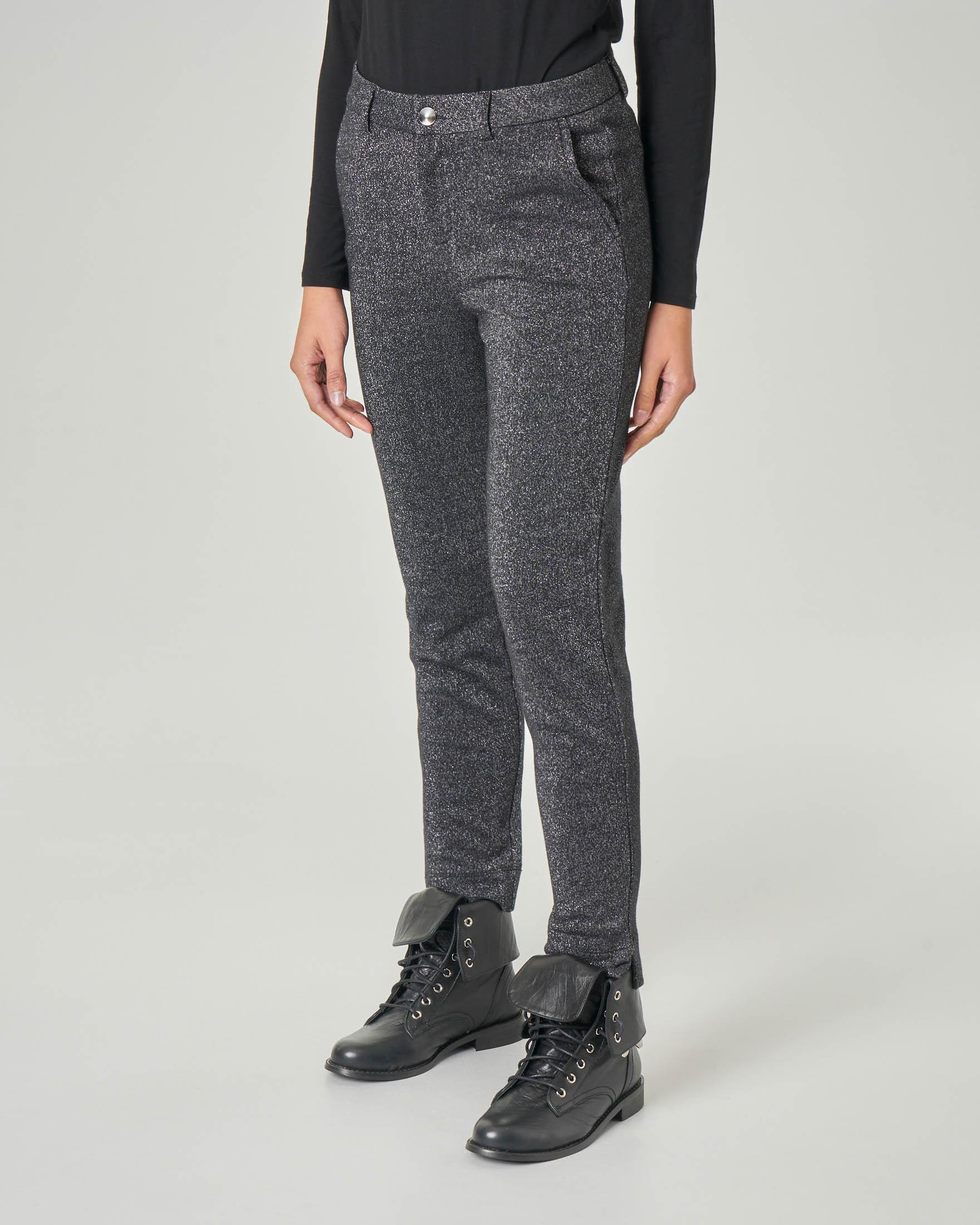 Pantalone nero in lurex argento in misto cotone con spacchetti laterali