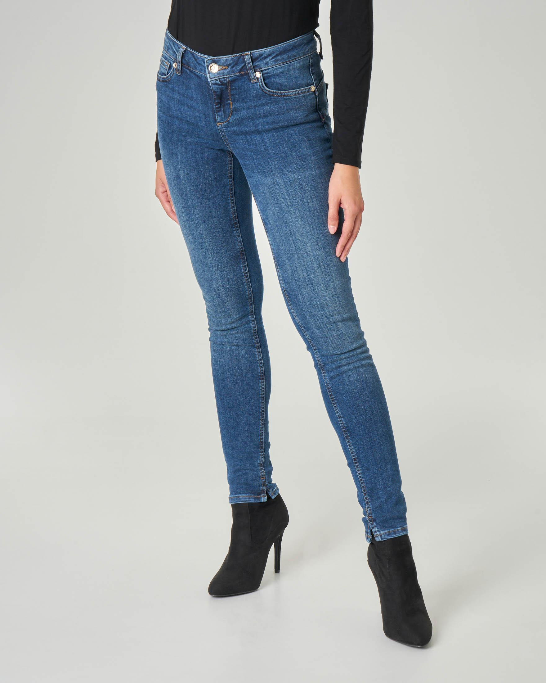 Jeans skinny Bottom up blu super stone washed a vita media con spacchetti sul fondo