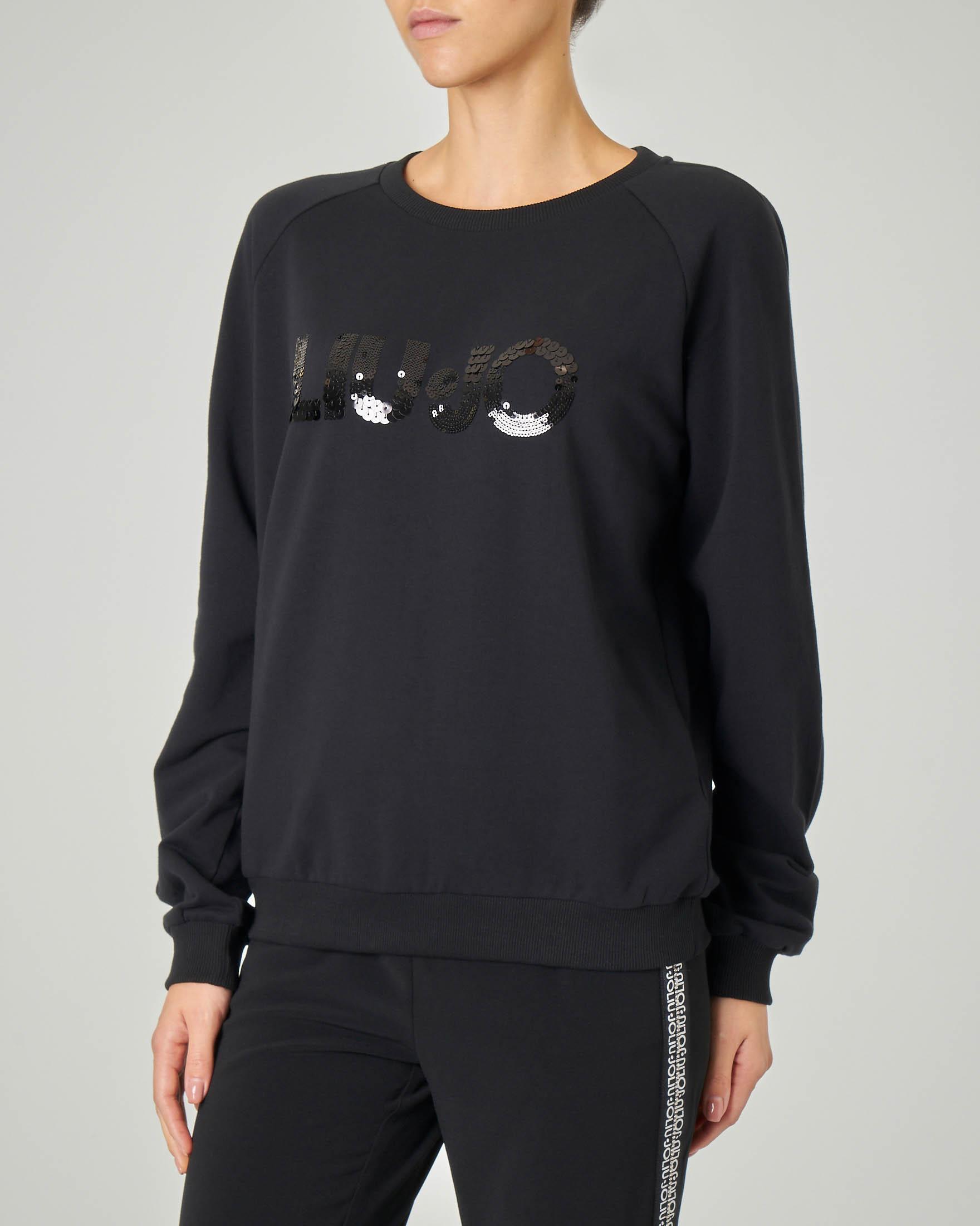 Felpa nera in jersey di cotone con scritta logo in paillettes tono su tono