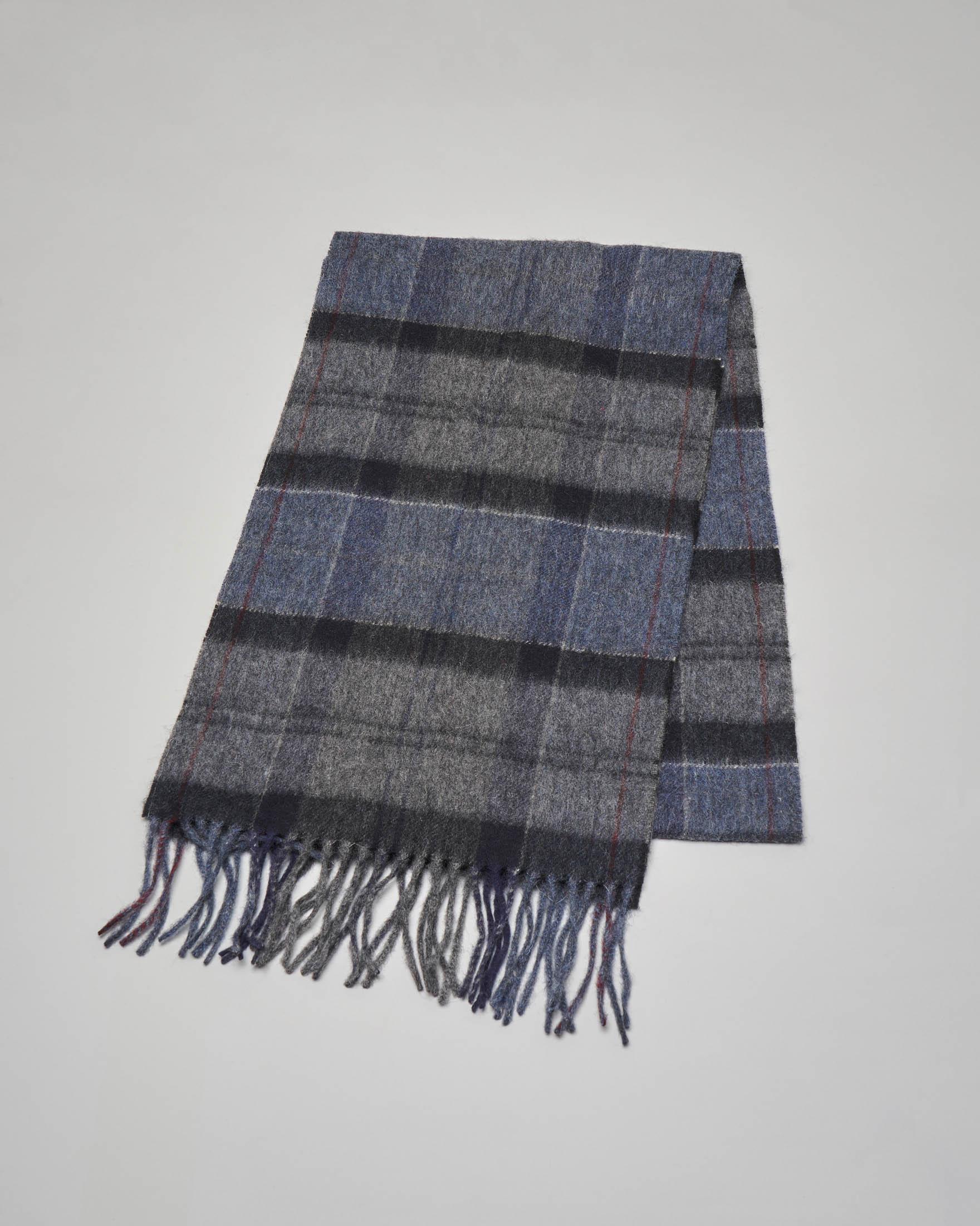 Sciarpa tartan check grigia nera e blu in lana e cachemire