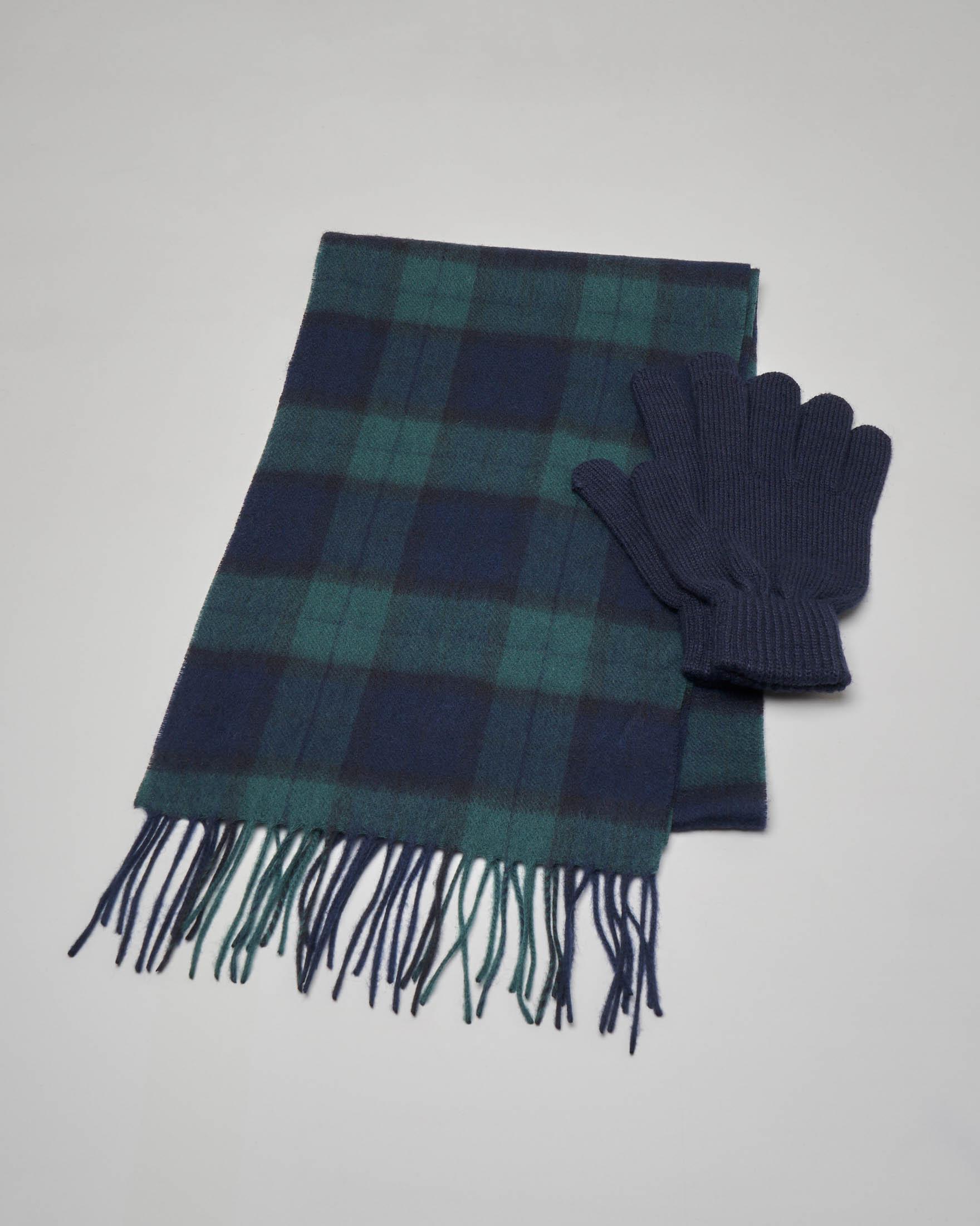Sciarpa e guanti in lana in tartan check blu e verde