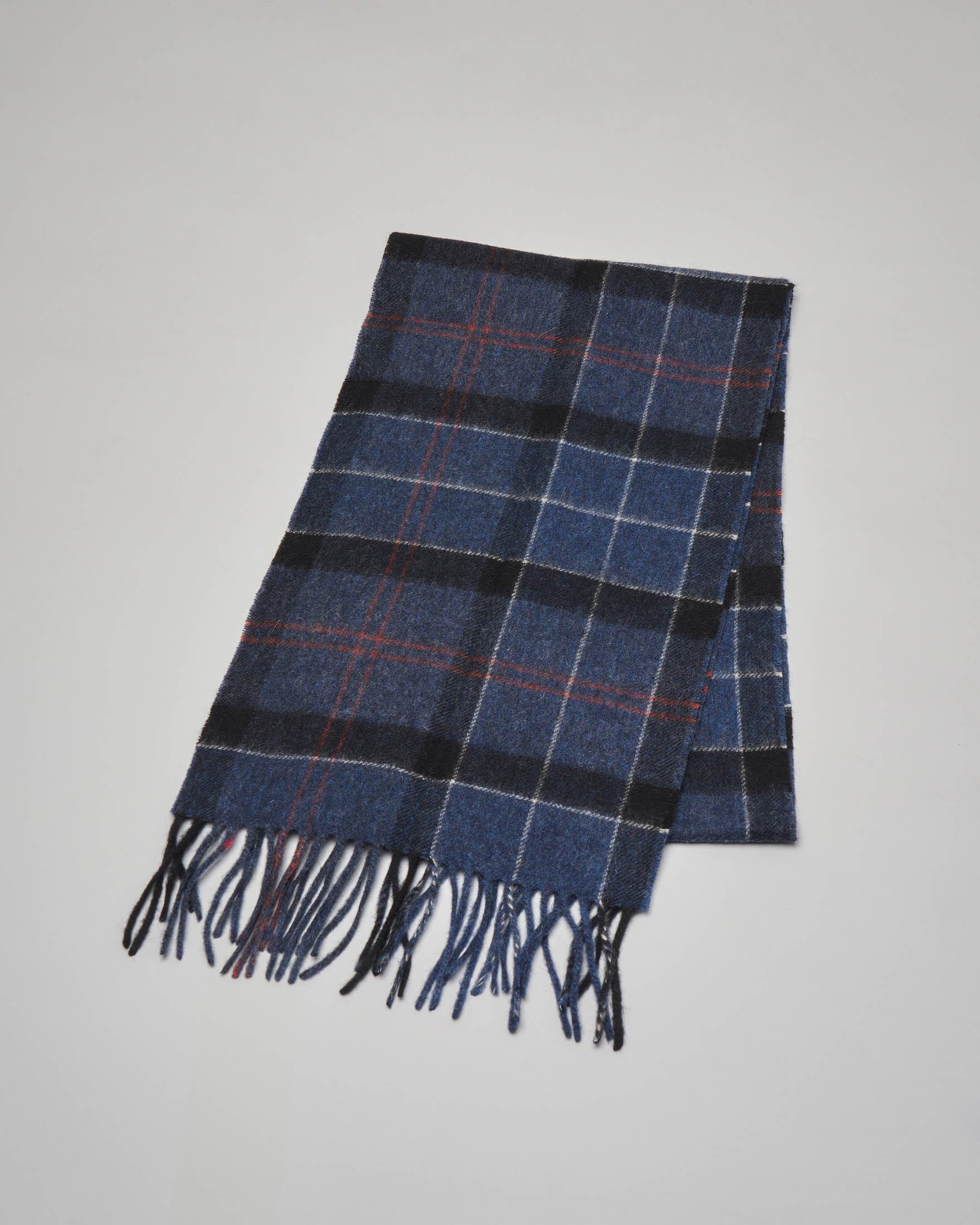 Sciarpa tartan check blu e nera in lana e cachemire