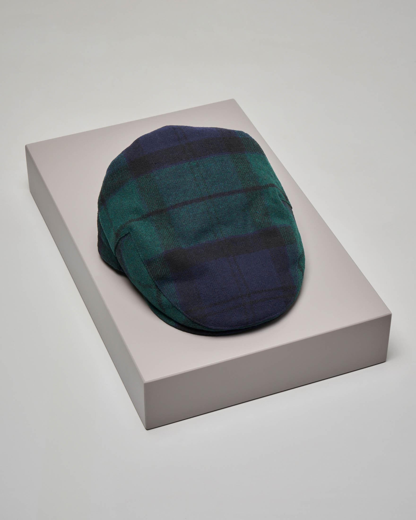 Coppola tartan check verde e blu in lana