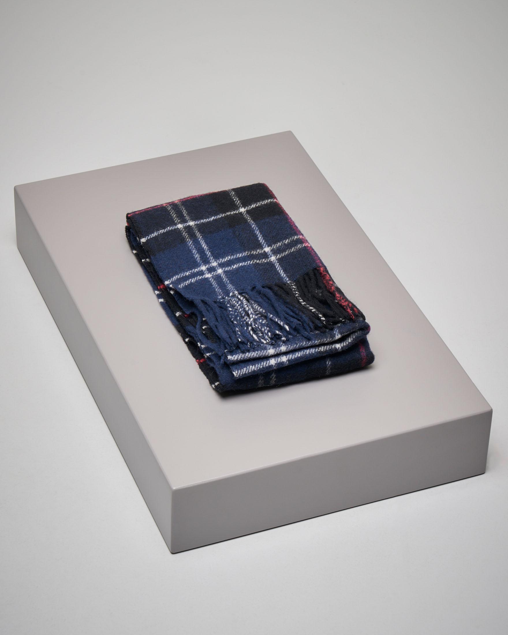 Sciarpa tartan check blu in lana