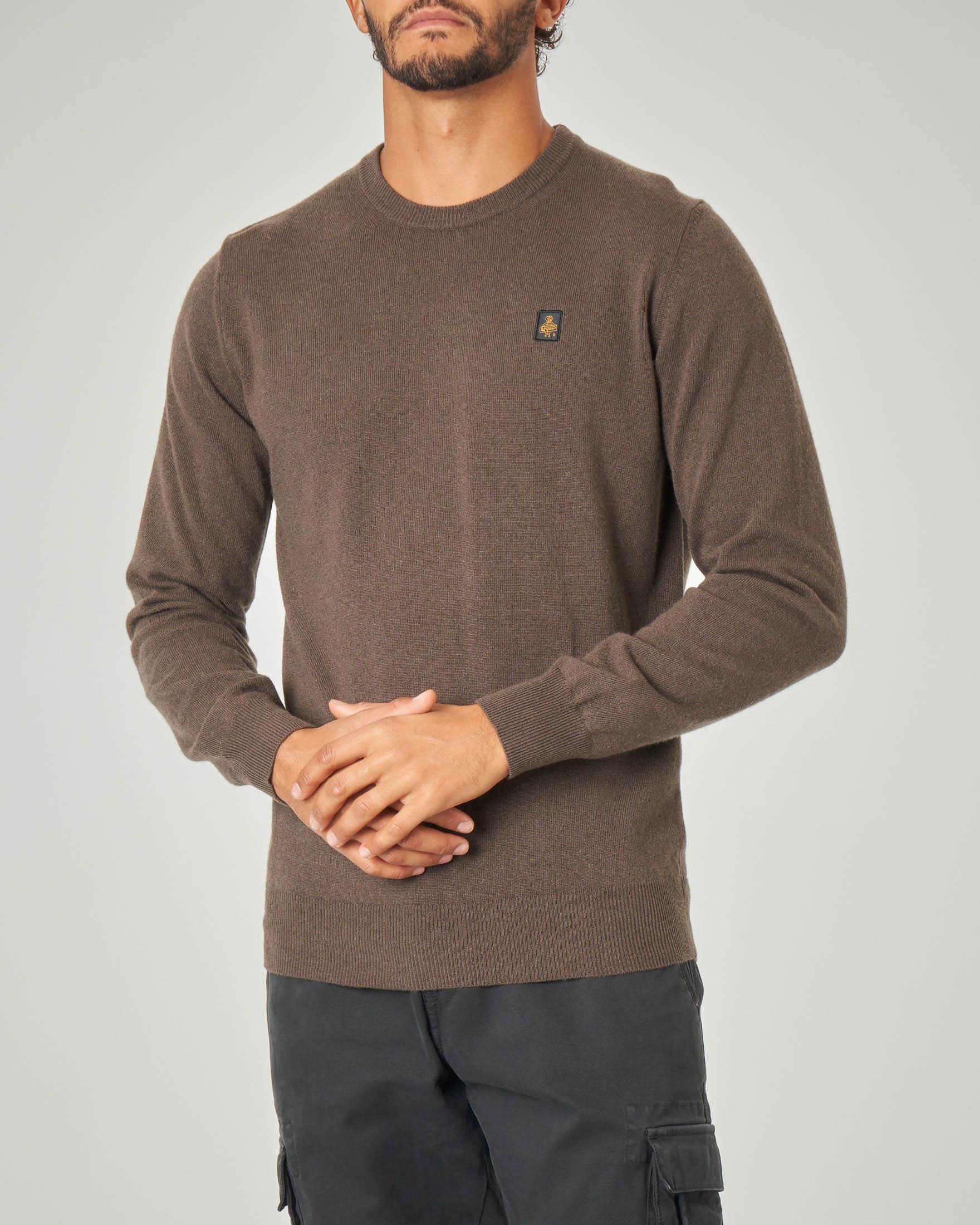 Maglia marrone girocollo in lana e cachemire
