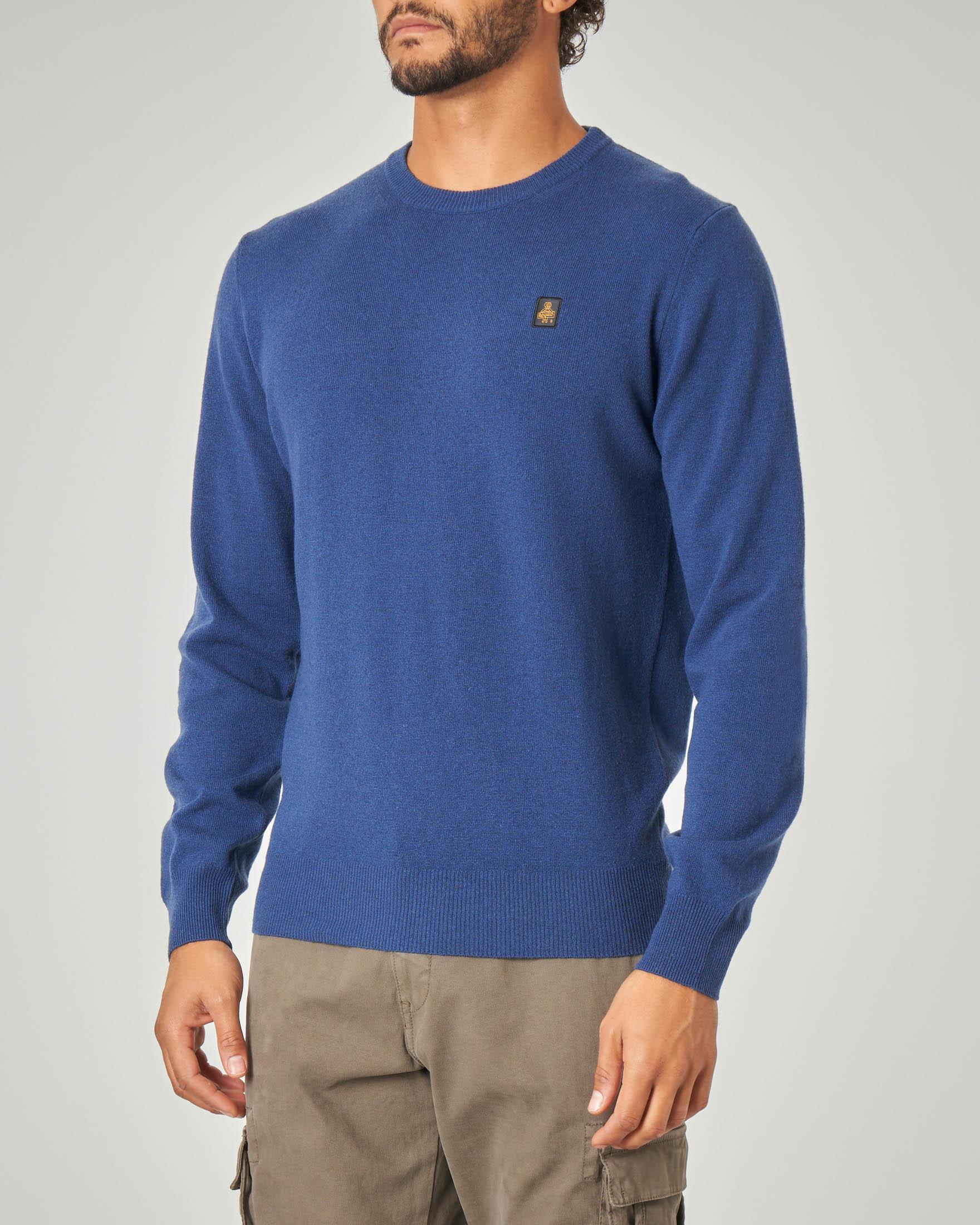 Maglia blu indaco girocollo in lana e cachemire