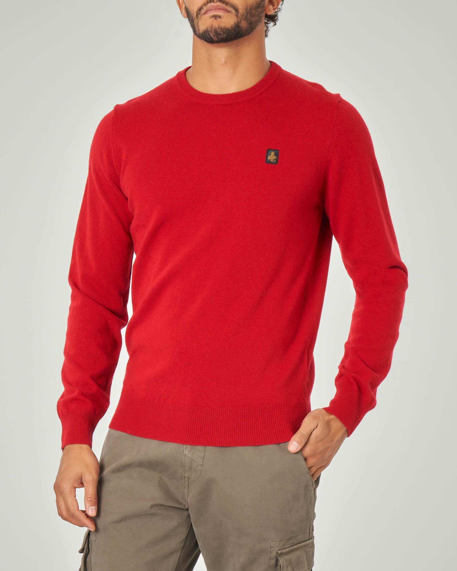 Maglia rossa girocollo in lana e cachemire