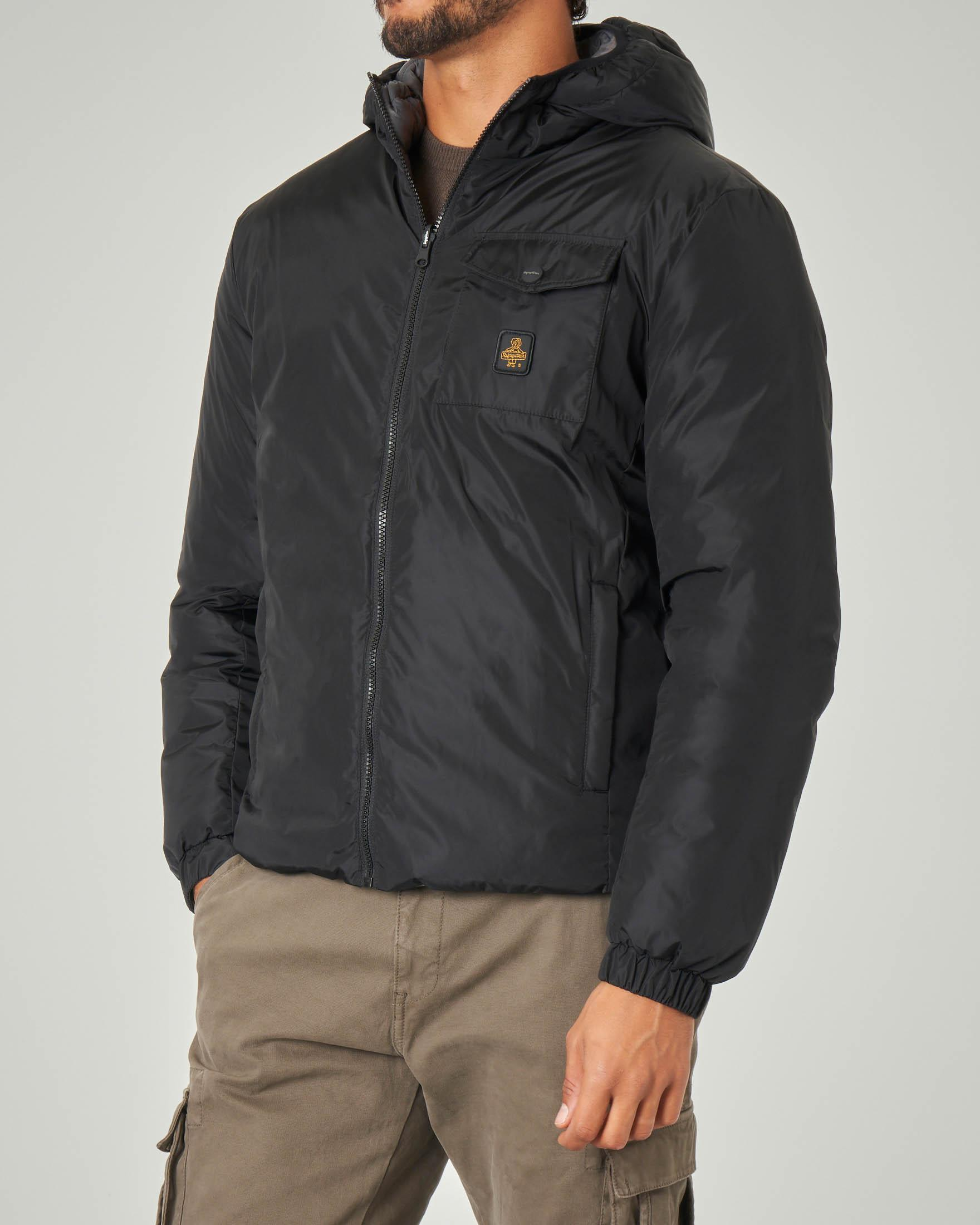 Midtown Jacket nera reversibile in piumino grigio