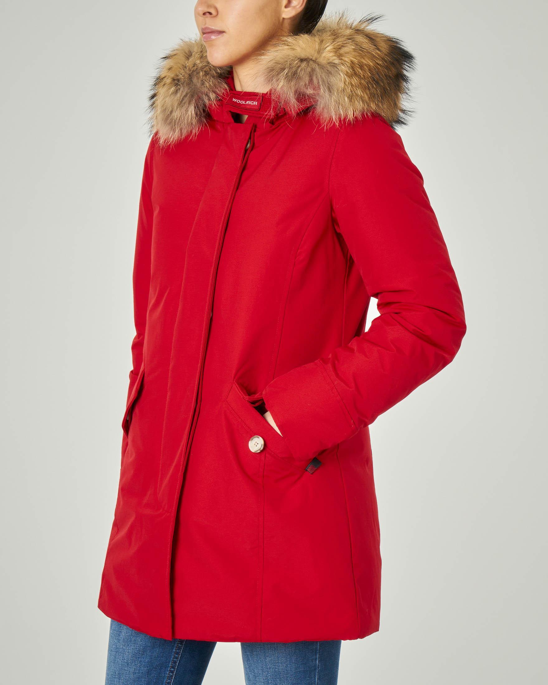 W'S Arctic Parka Fr rosso con cappuccio con bordatura in pelliccia staccabile