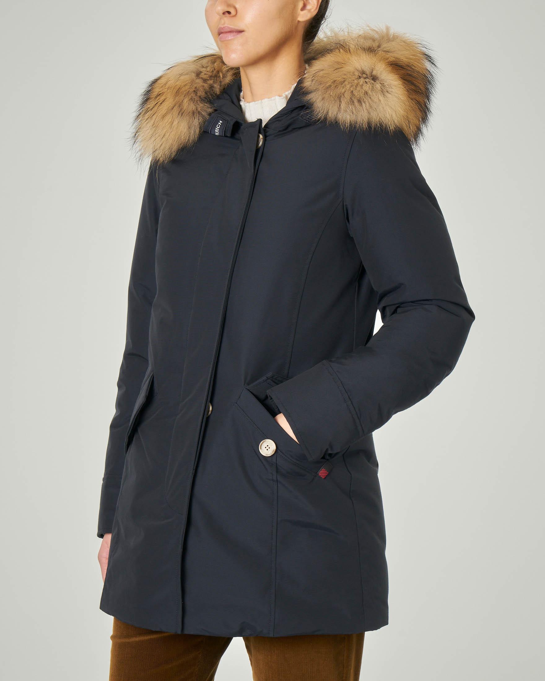 W'S Arctic Parka Fr blu con cappuccio con bordatura in pelliccia staccabile