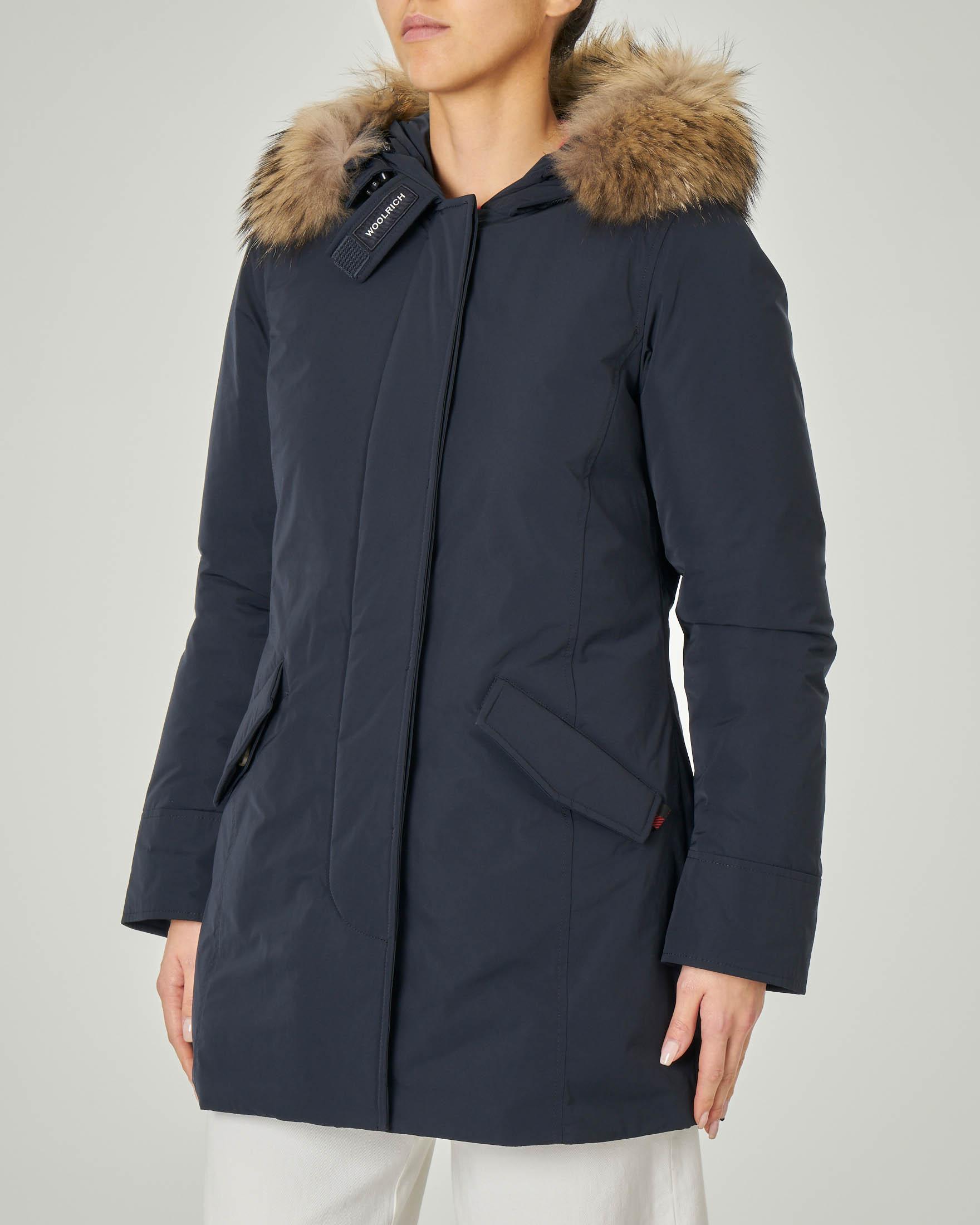 W'S Luxury Arctic Parka blu con cappuccio con bordatura in pelliccia staccabile