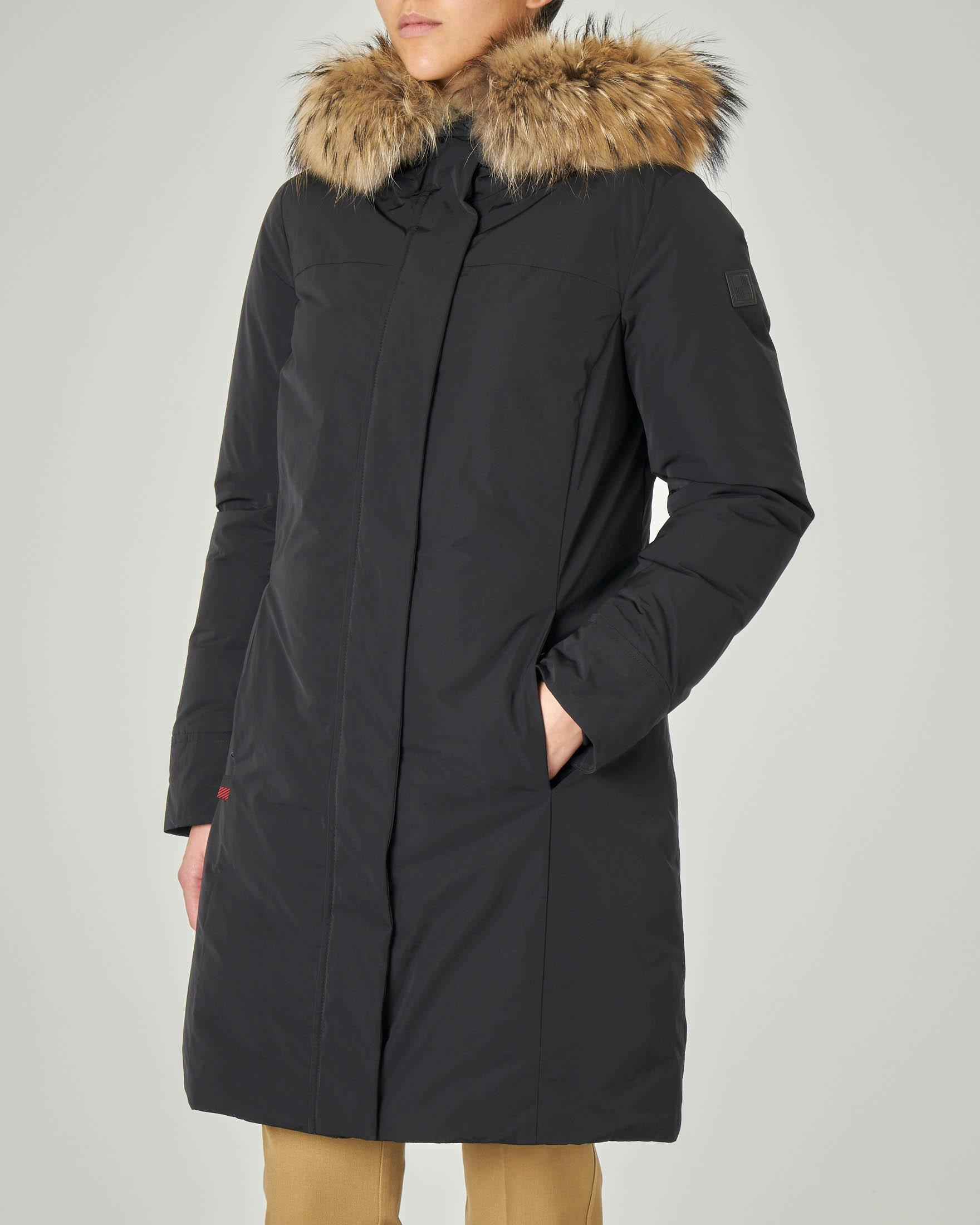 W'S Luxury Boulder Coat nero con profilo in pelliccia di murmasky