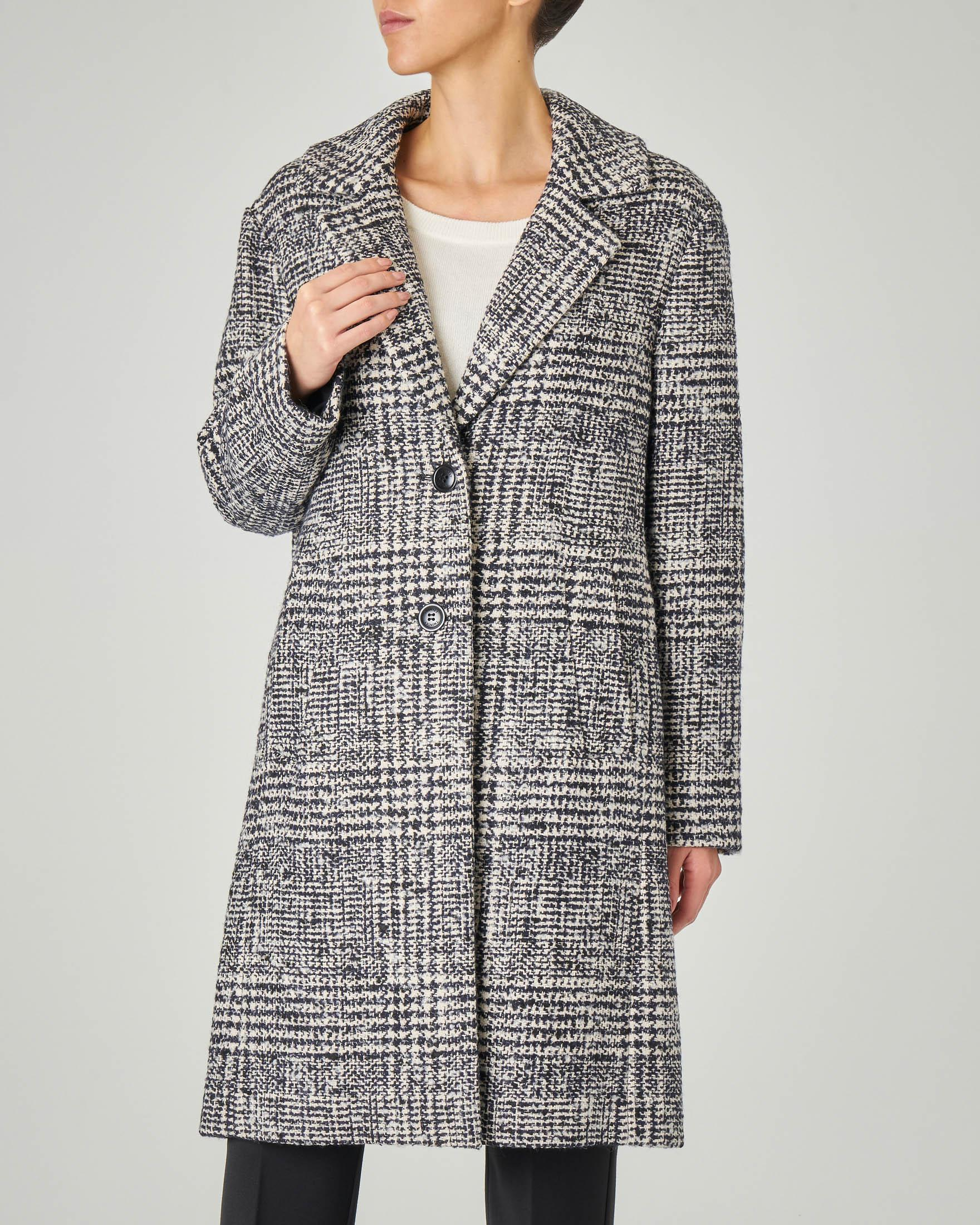 Cappotto in cotone misto lana e alpaca in Principe di Galles bianco e nero