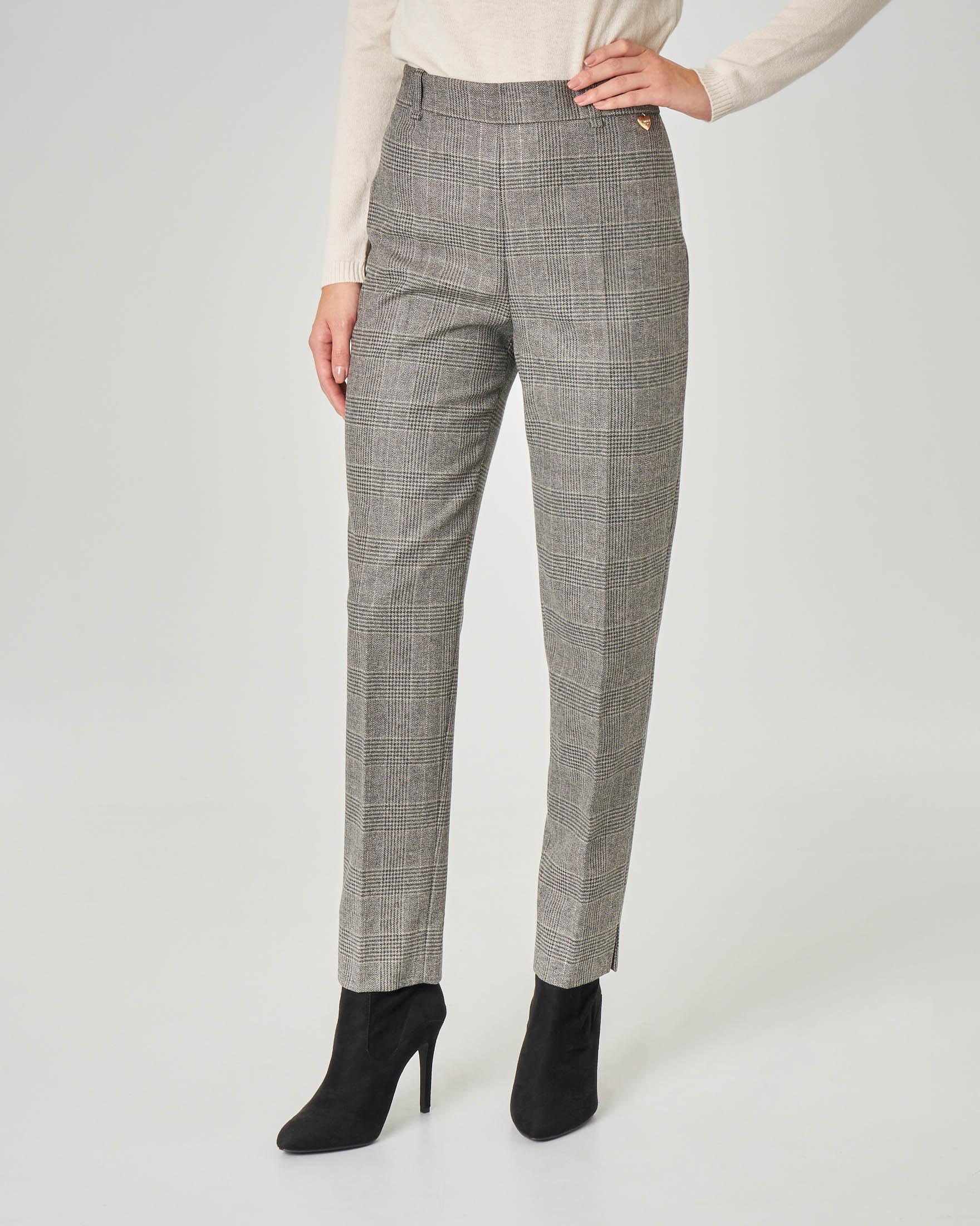 Pantaloni dritti a vita alta in misto lana in Principe di Galles grigi