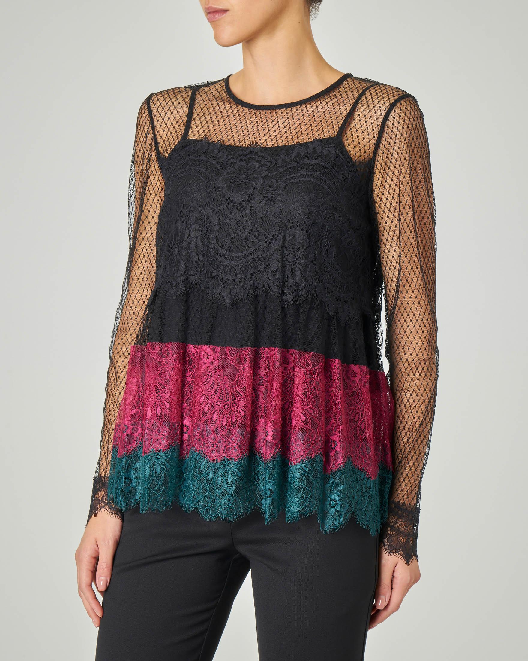 Blusa in pizzo effetto trasparente a blocchi di colore nero verde e viola