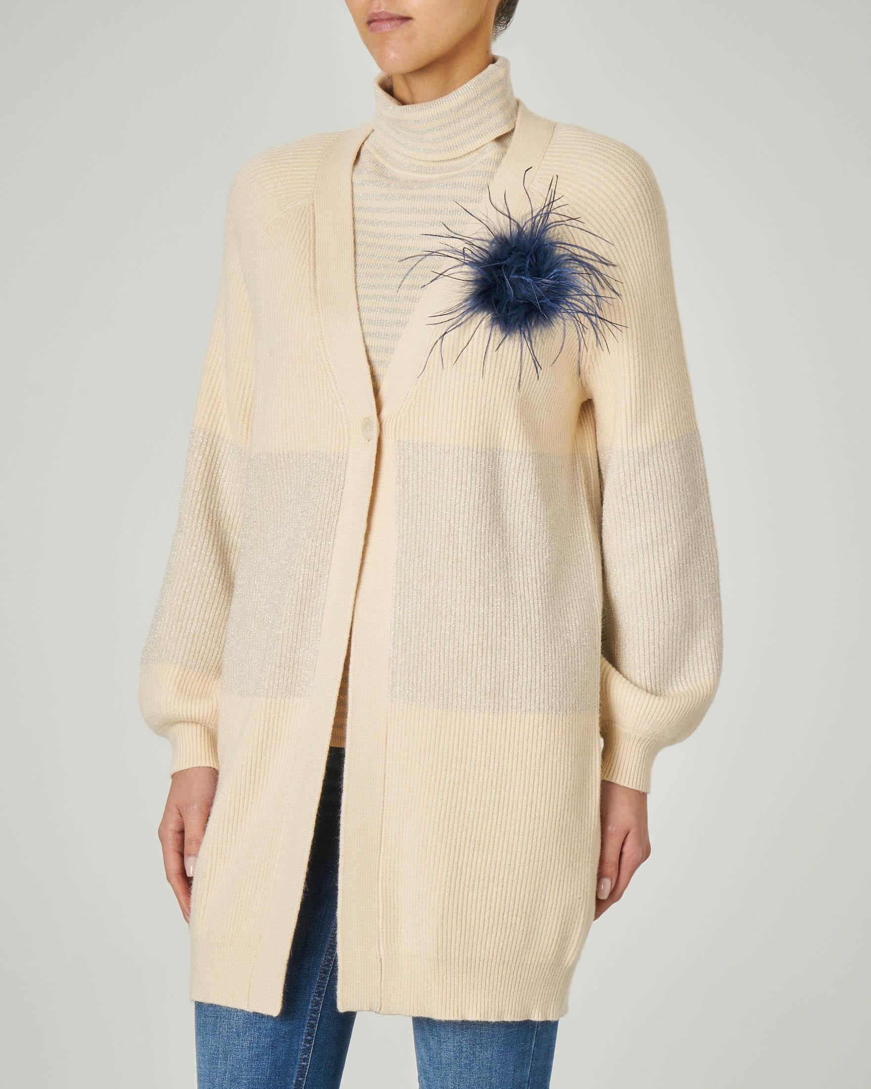 Cardigan color panna con inserti in lurex argento