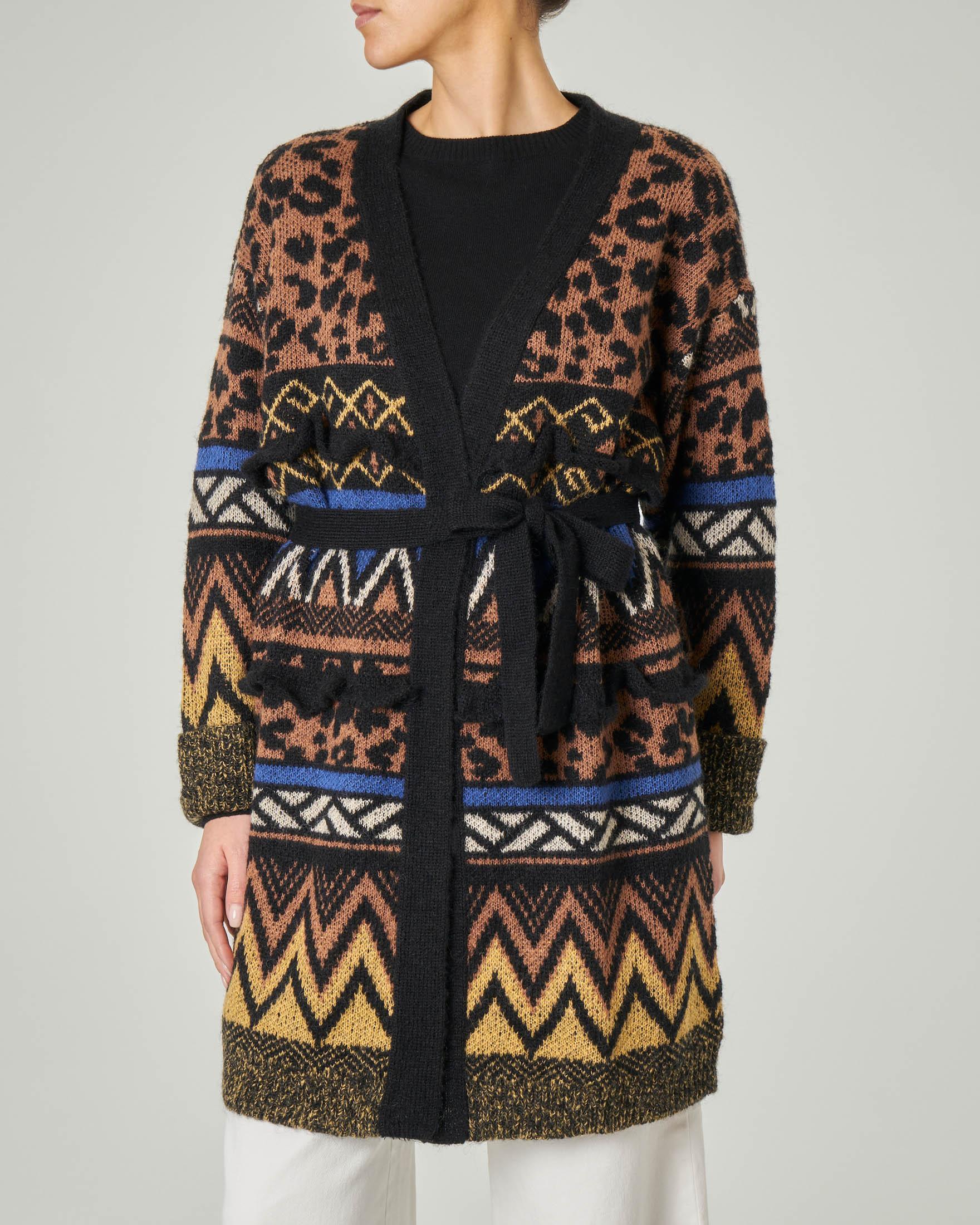 Cardigan in lana e mohair con motivi jacquard multicolor e rouches e cintura in vita