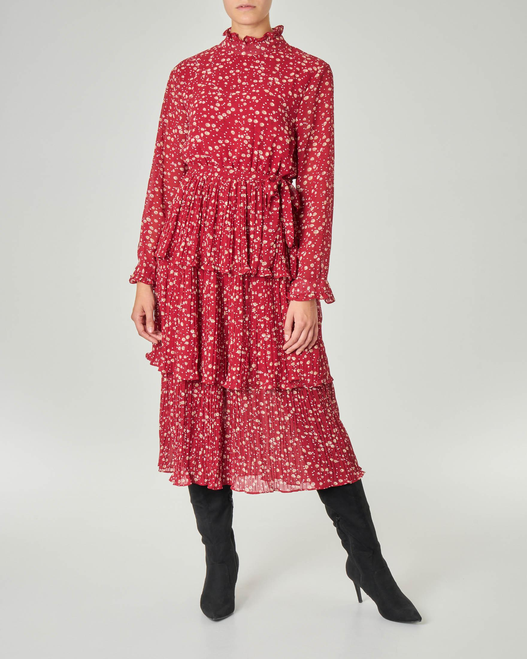 Abito midi rosso a microfantasia bianca con gonna plissettata con balze e cintura in vita