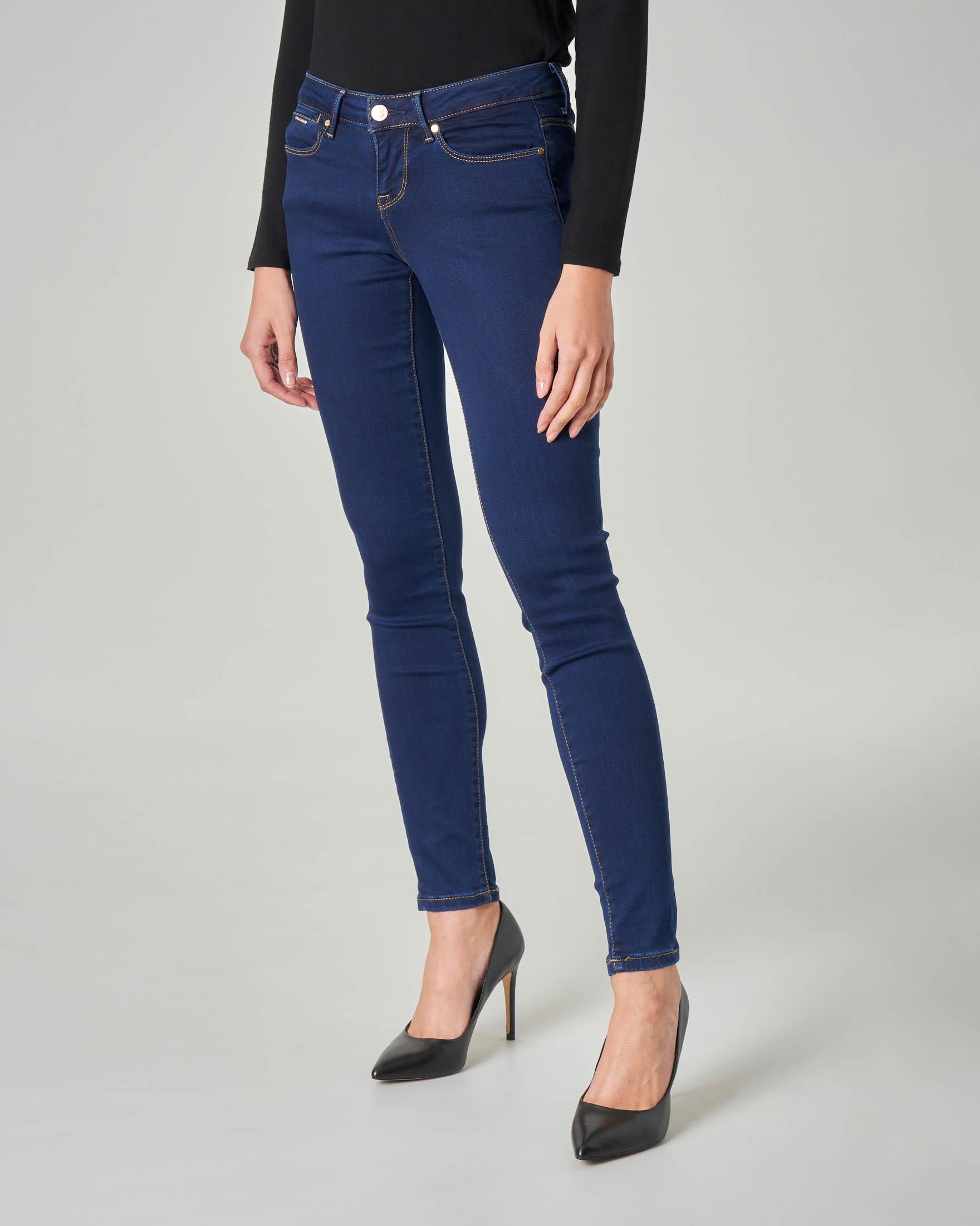 Jeans skinny blu scuro a vita bassa