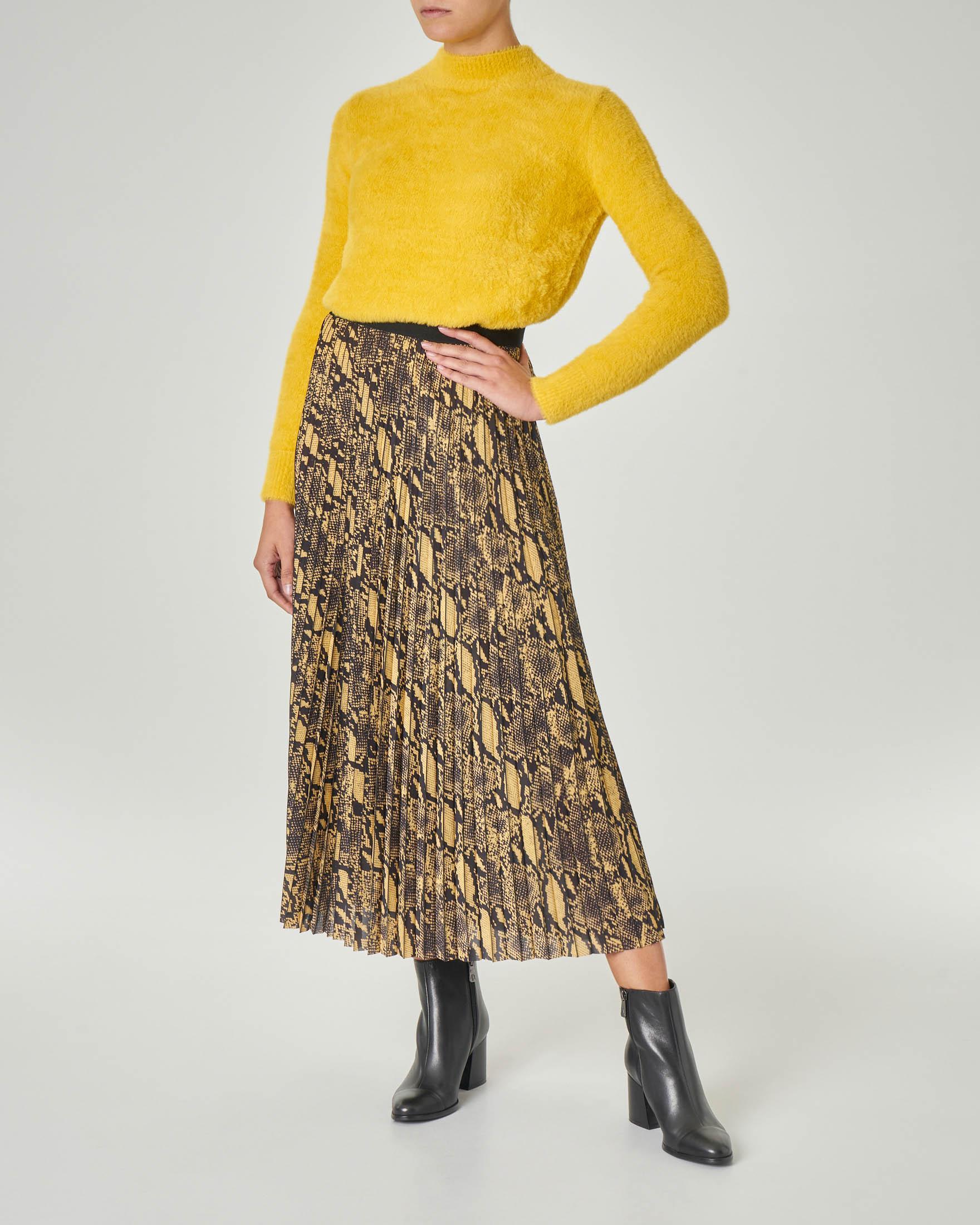 Gonna plissè stampa pitone gialla con fascia elastica in vita a contrasto