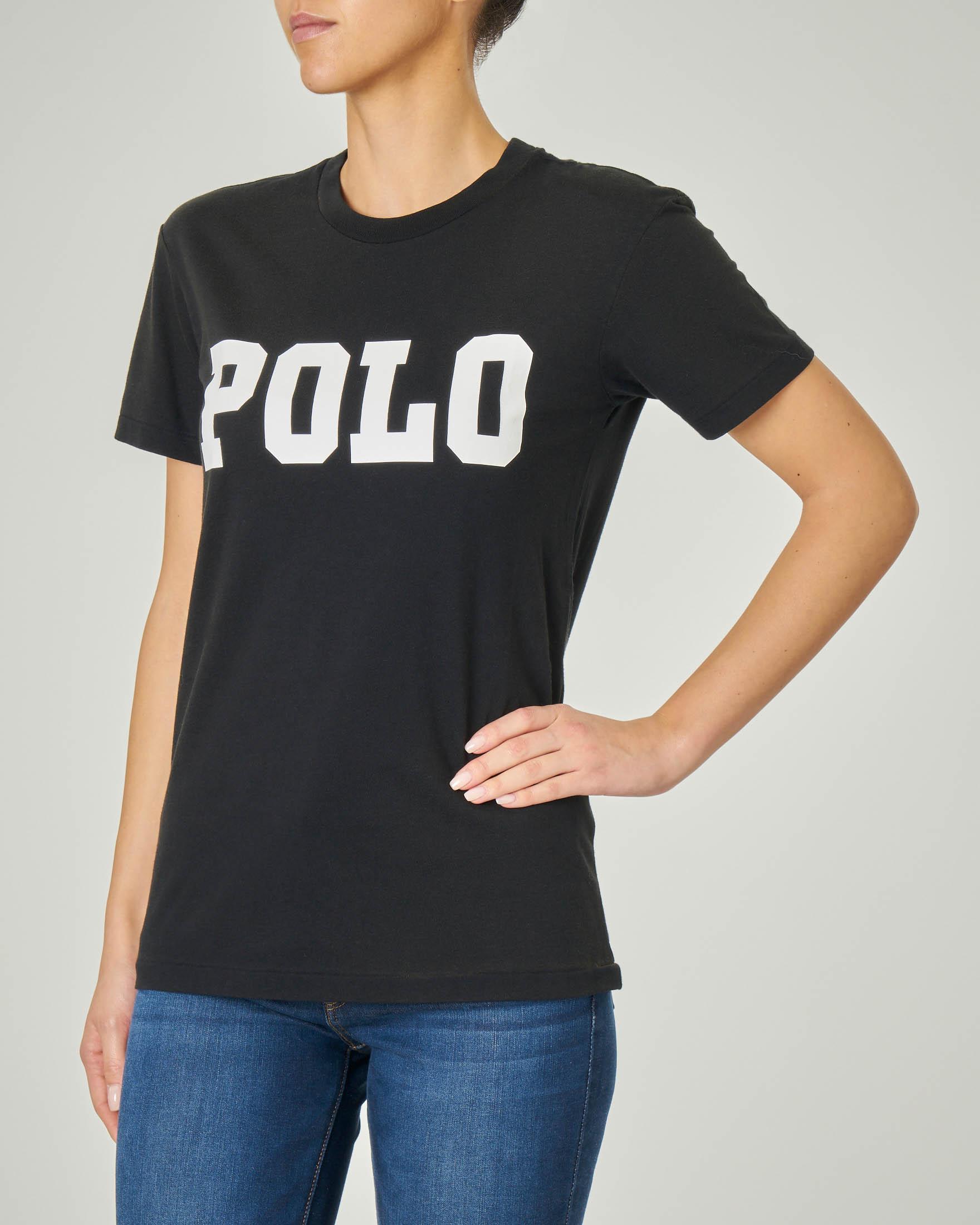 T-shirt nera in cotone a manica corta con scritta logo stampata in bianco
