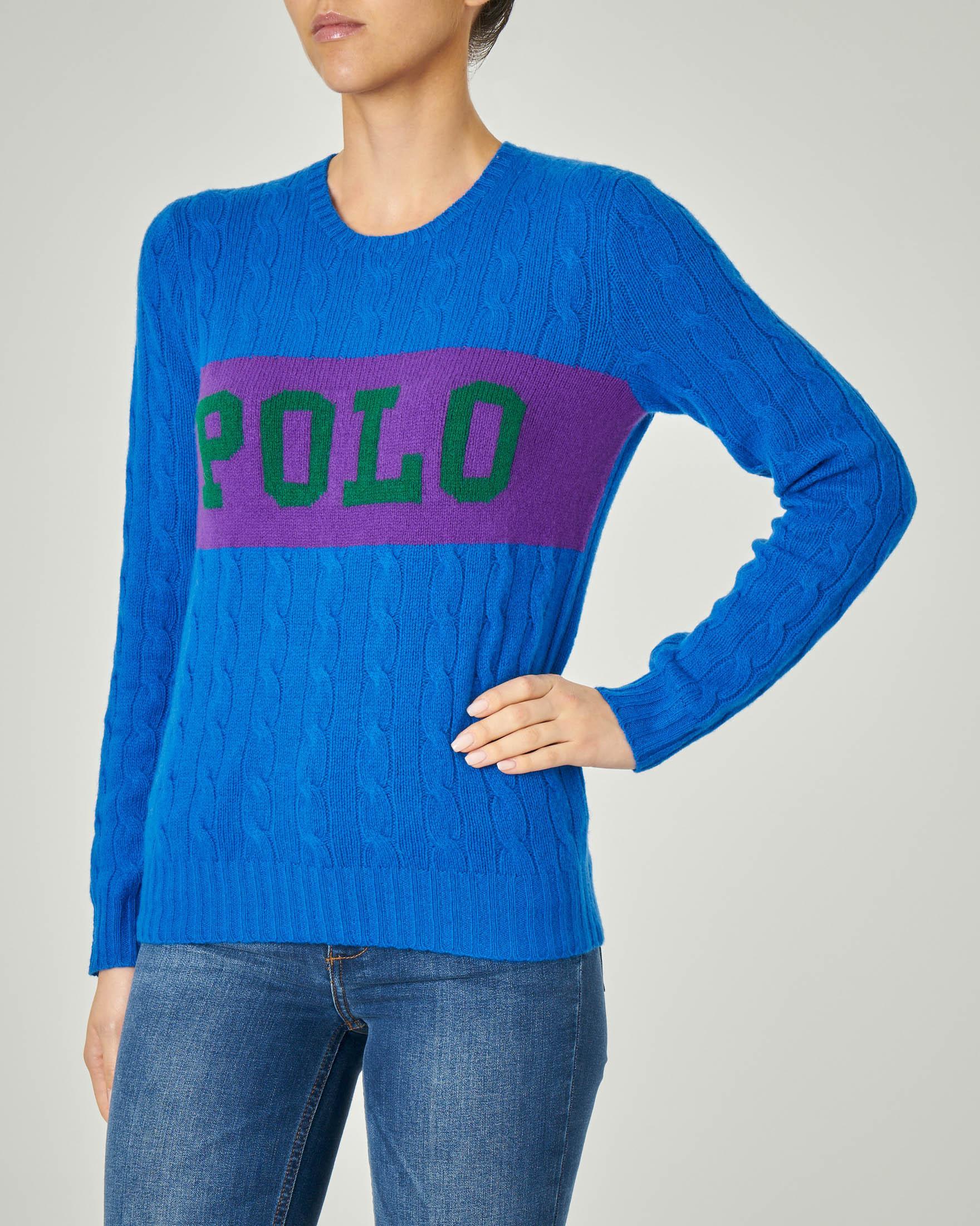 Maglia blu royal in lana e cashmere con motivo a trecce con banda viola con scritta logo