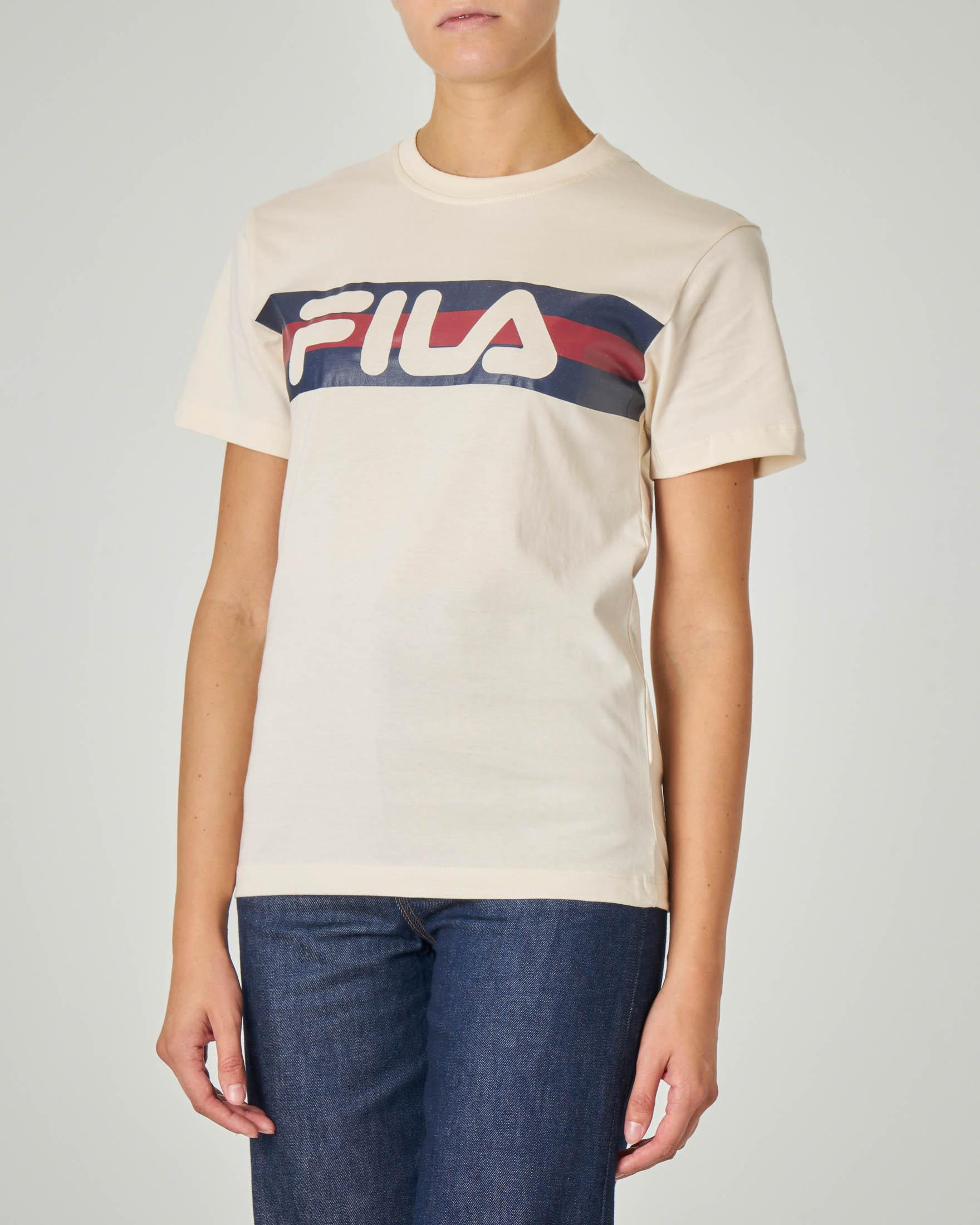 T-shirt in cotone beige manica corta con scritta logo blu e bordeaux stampata