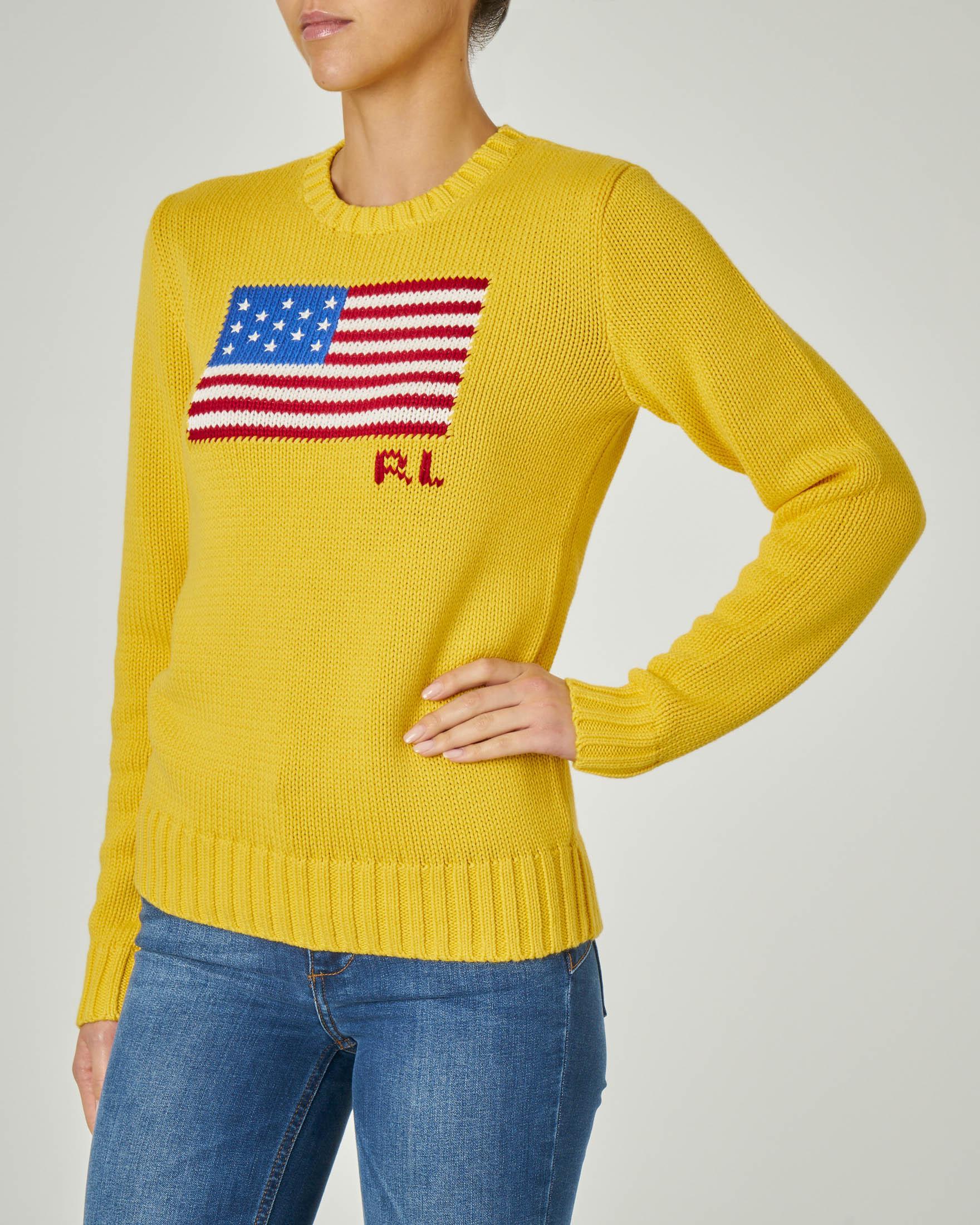 Maglia giallo in cotone con logo bandiera