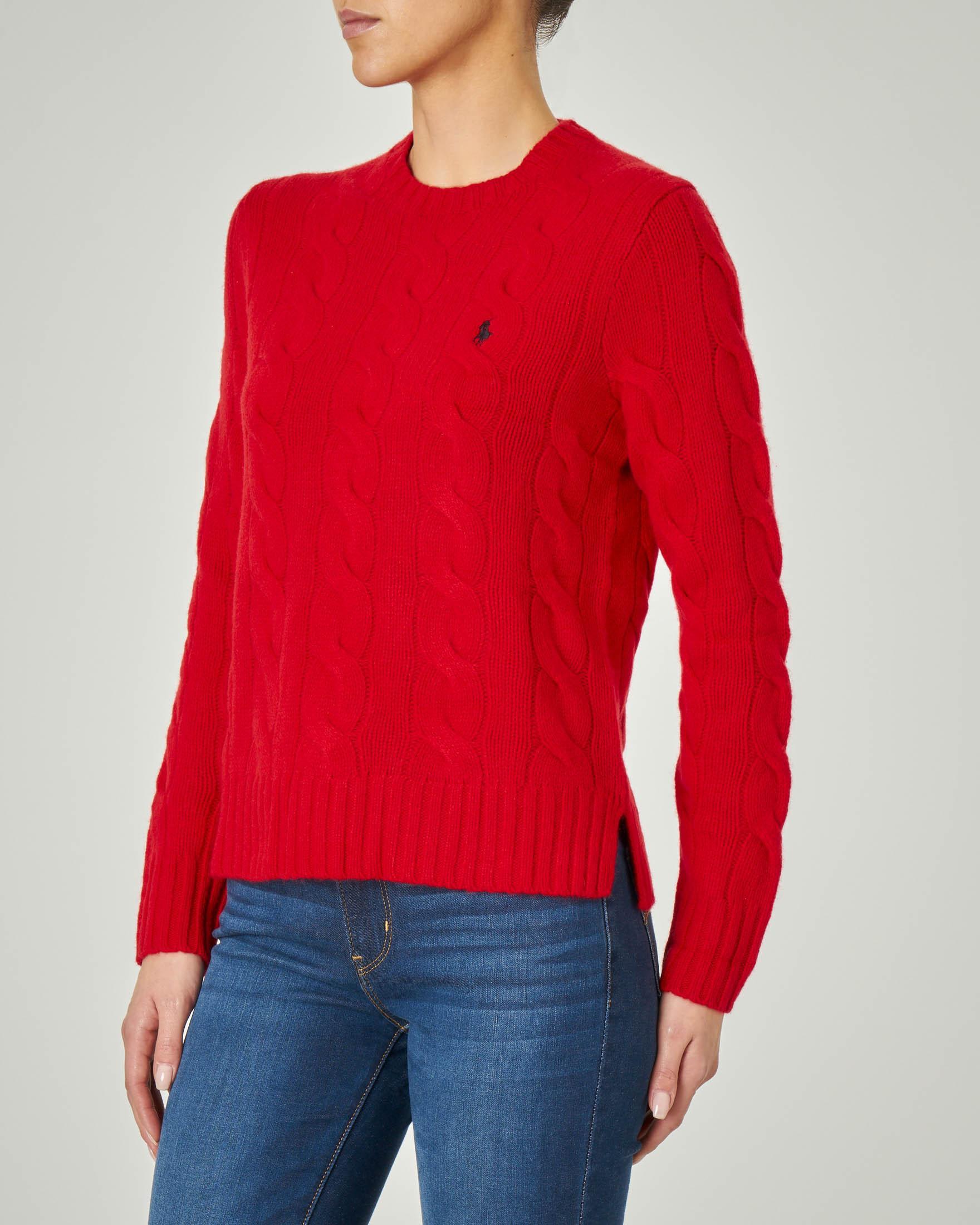 Maglia rossa in lana e cashmere con motivo a trecce e spacchetti laterali