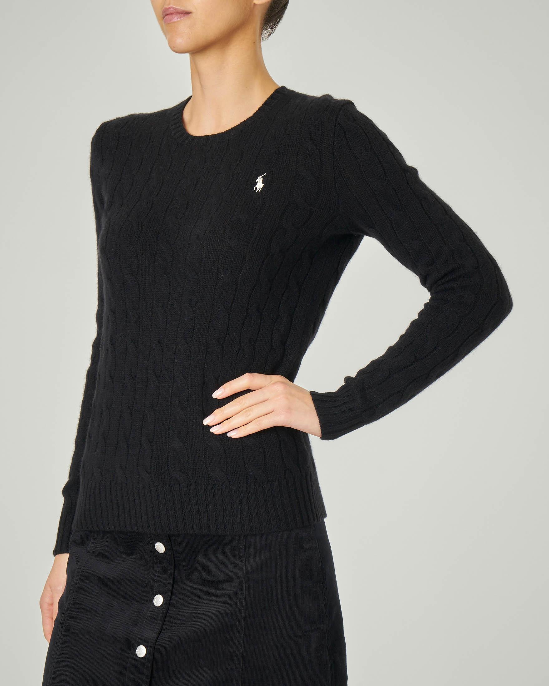 Maglia in lana misto cashmere a trecce colore nero