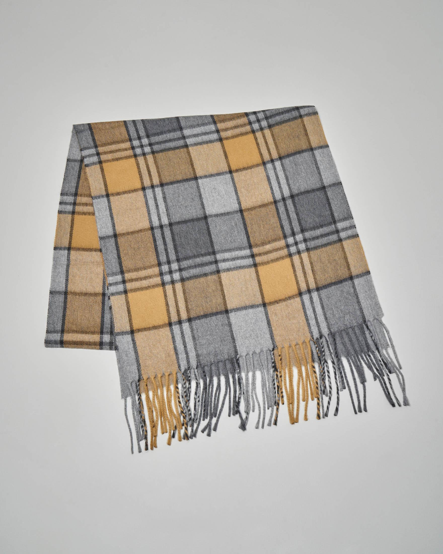 Sciarpa in lana fantasia check colore grigio e senape
