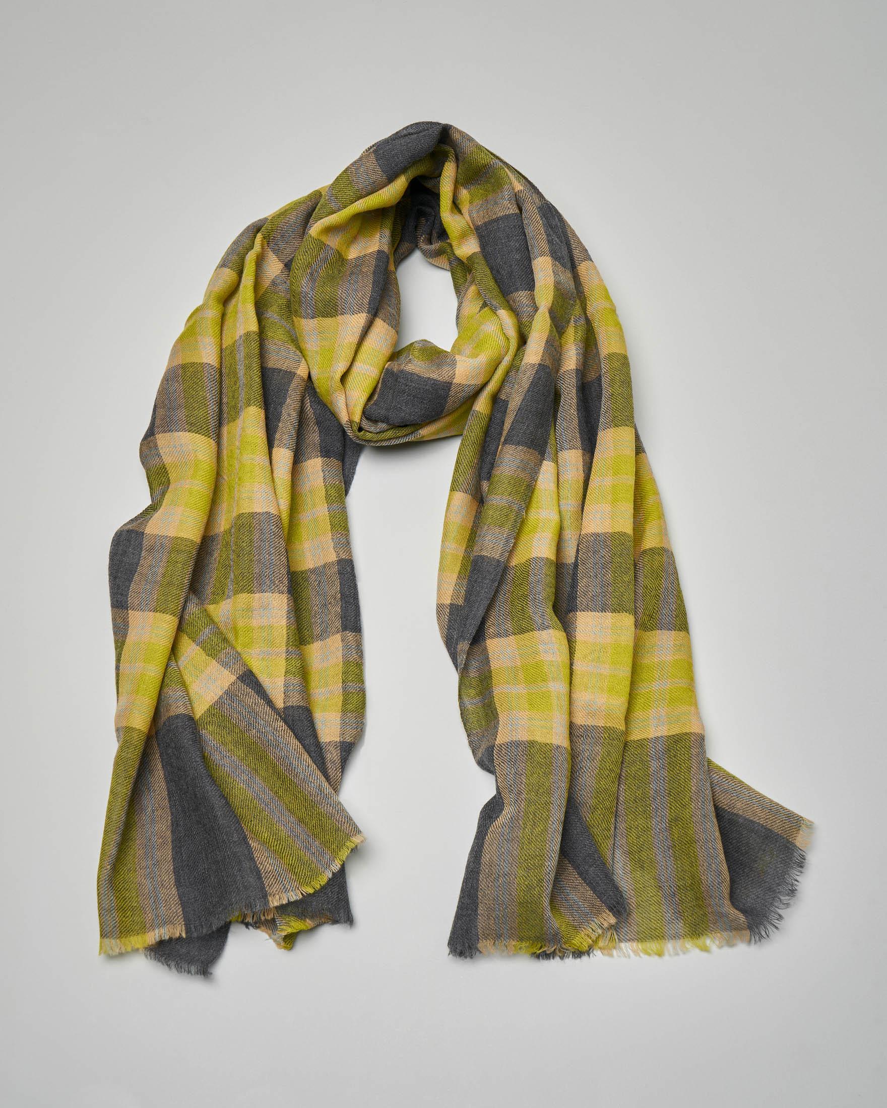Sciarpa in lana a fantasia check grigio e giallo fluo