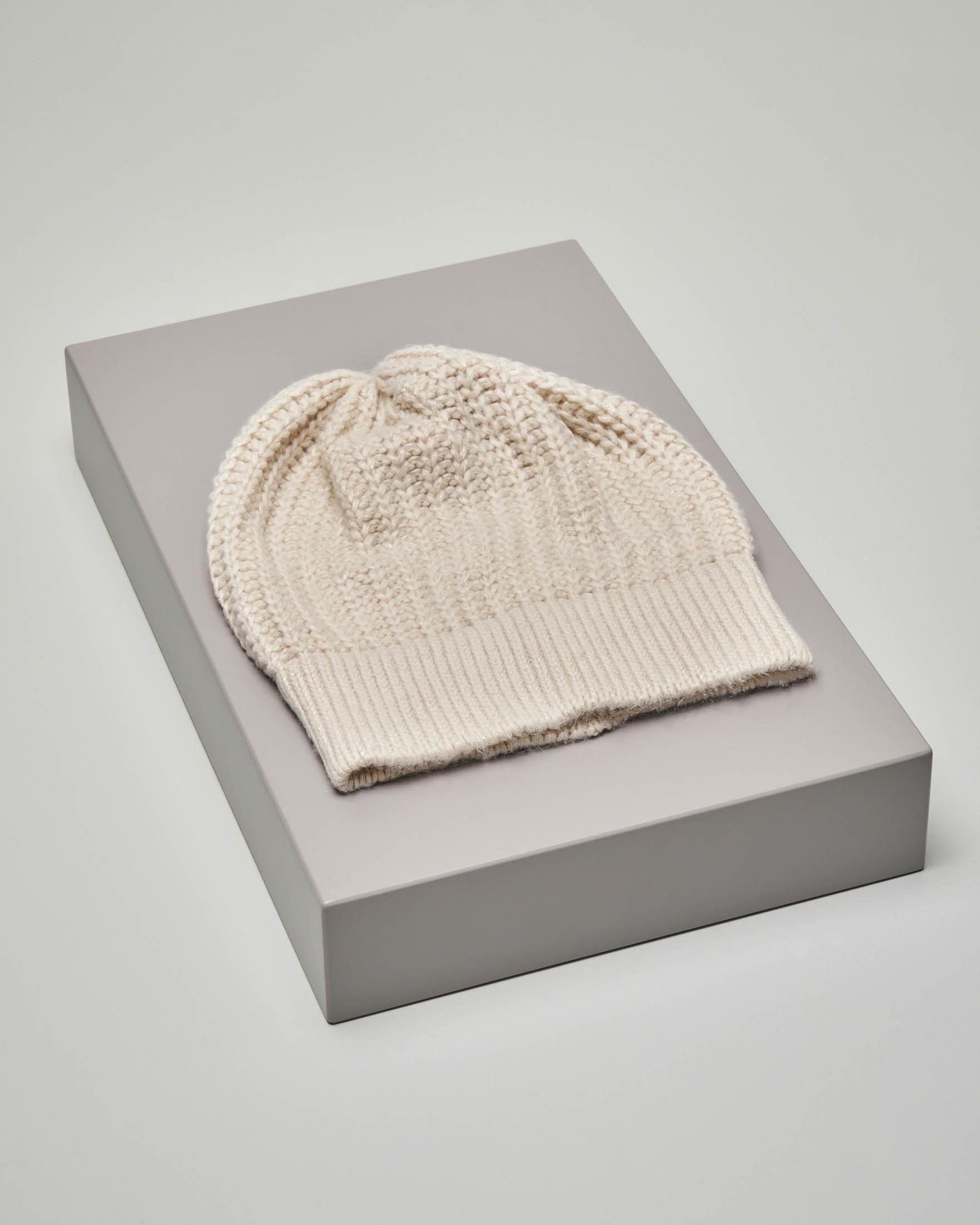 Berretto avorio tricot in misto lana con inserti in lurex