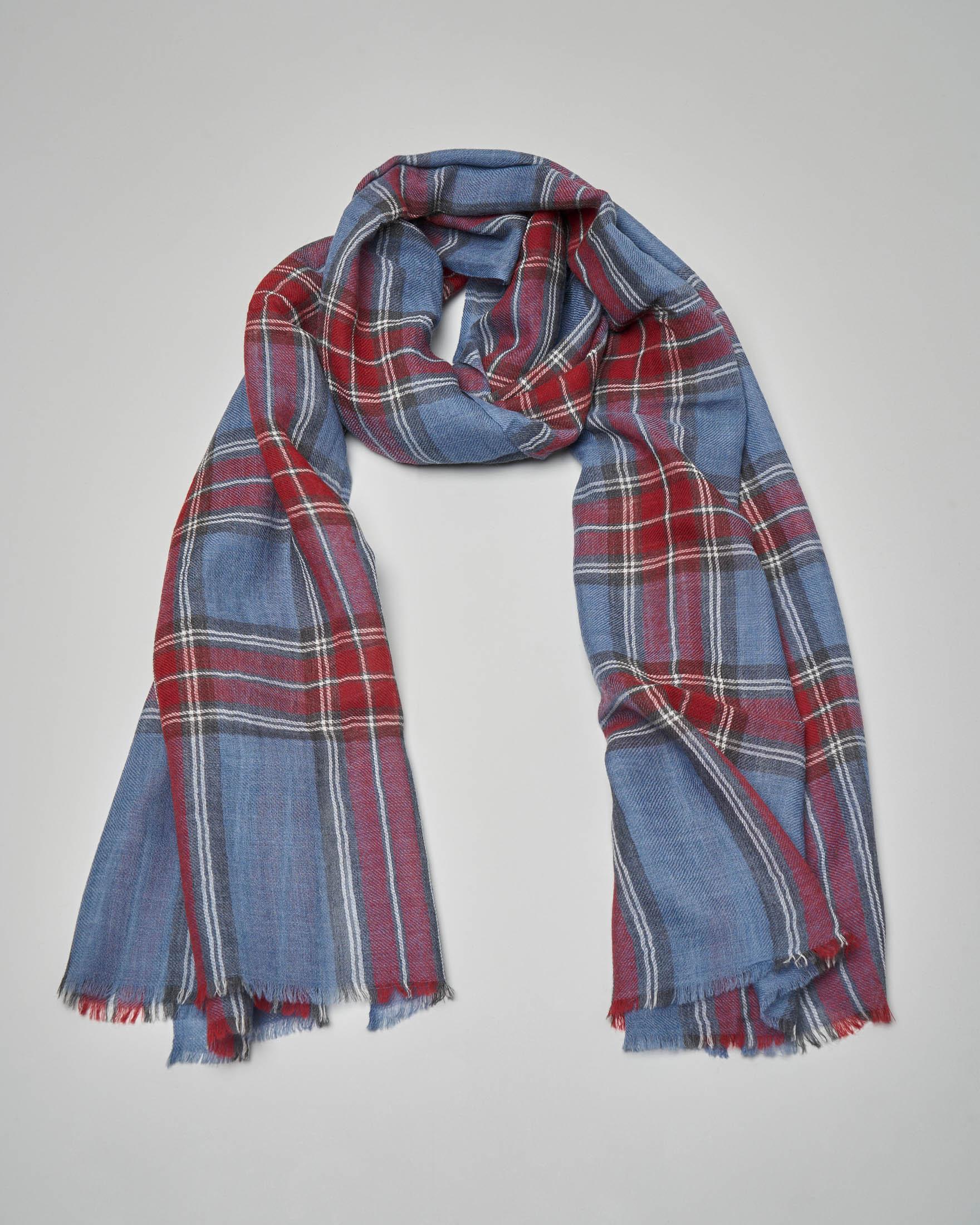 Sciarpa in lana a fantasia check avio e rosso