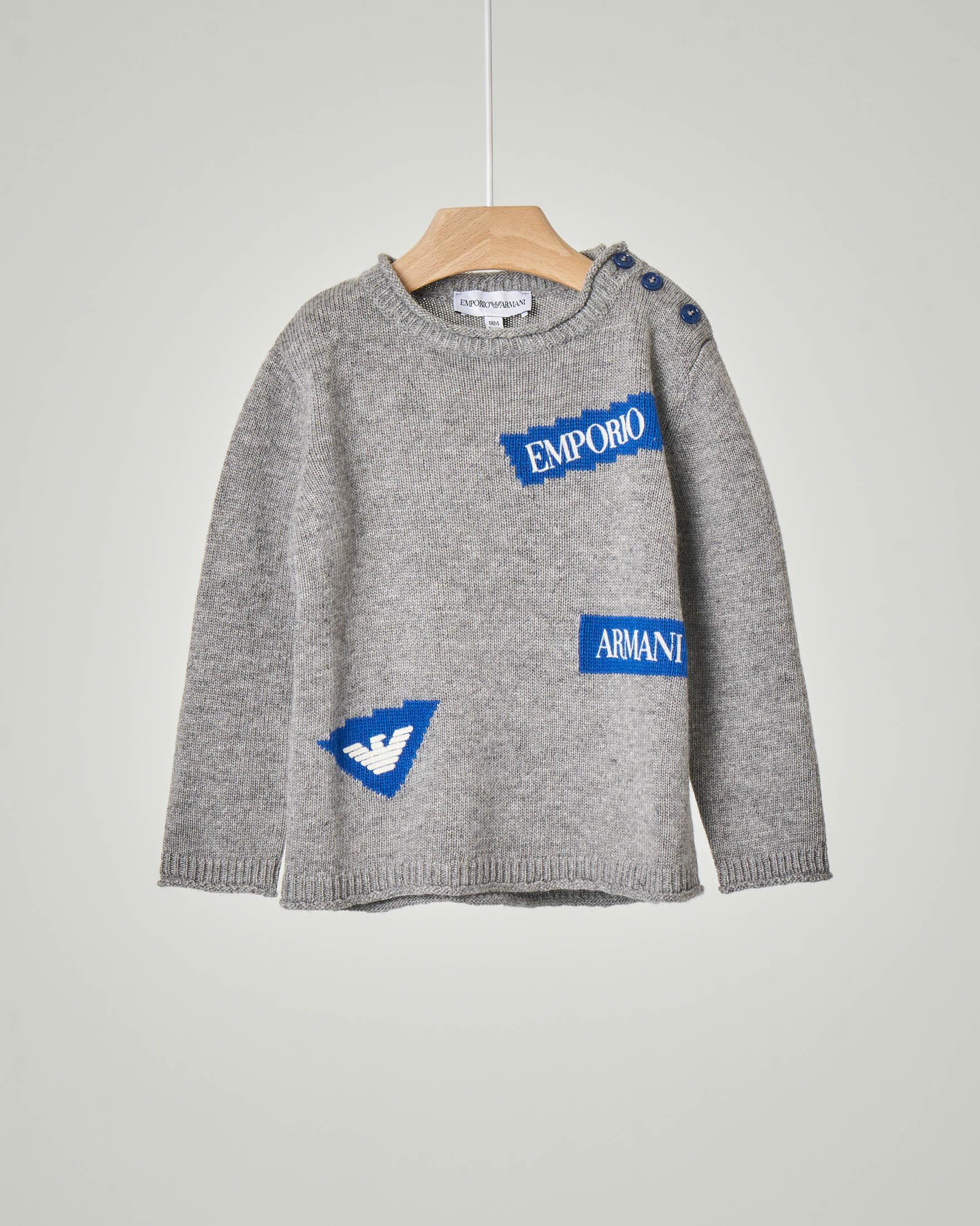 Maglia grigia girocollo in misto viscosa lana e cachemire con patch logo jacquard 12-36 mesi