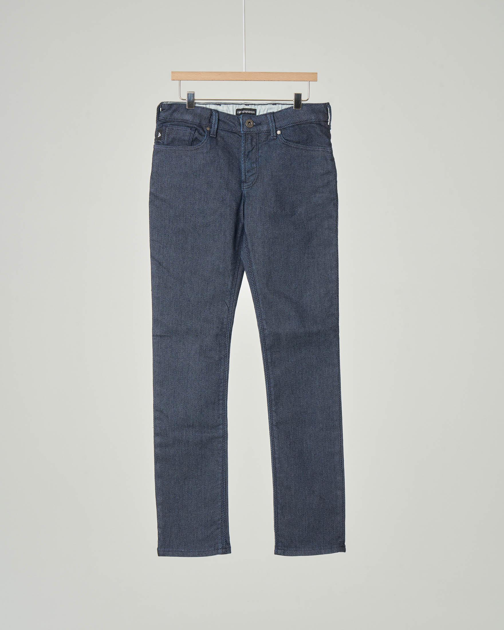Pantalone cinque tasche blu in tessuto effetto denim 10-16 anni