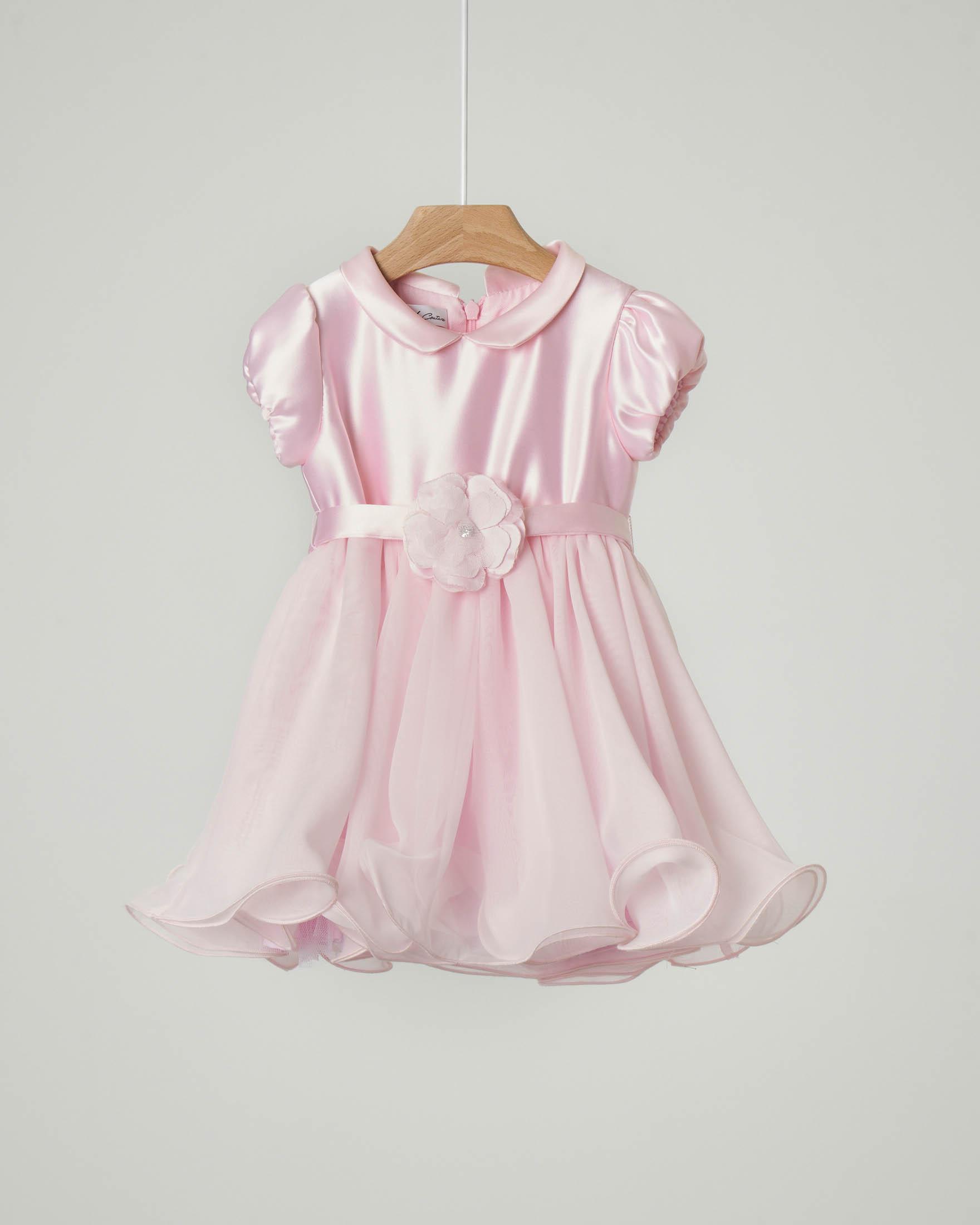 Abito rosa in raso con gonna in tulle ondulata e cintura con fiocco abbinata 6-12 mesi