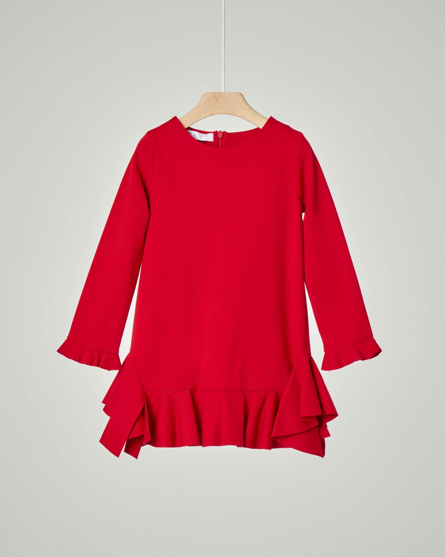 Abito rosso con balze e maniche con rouches 3-7 anni