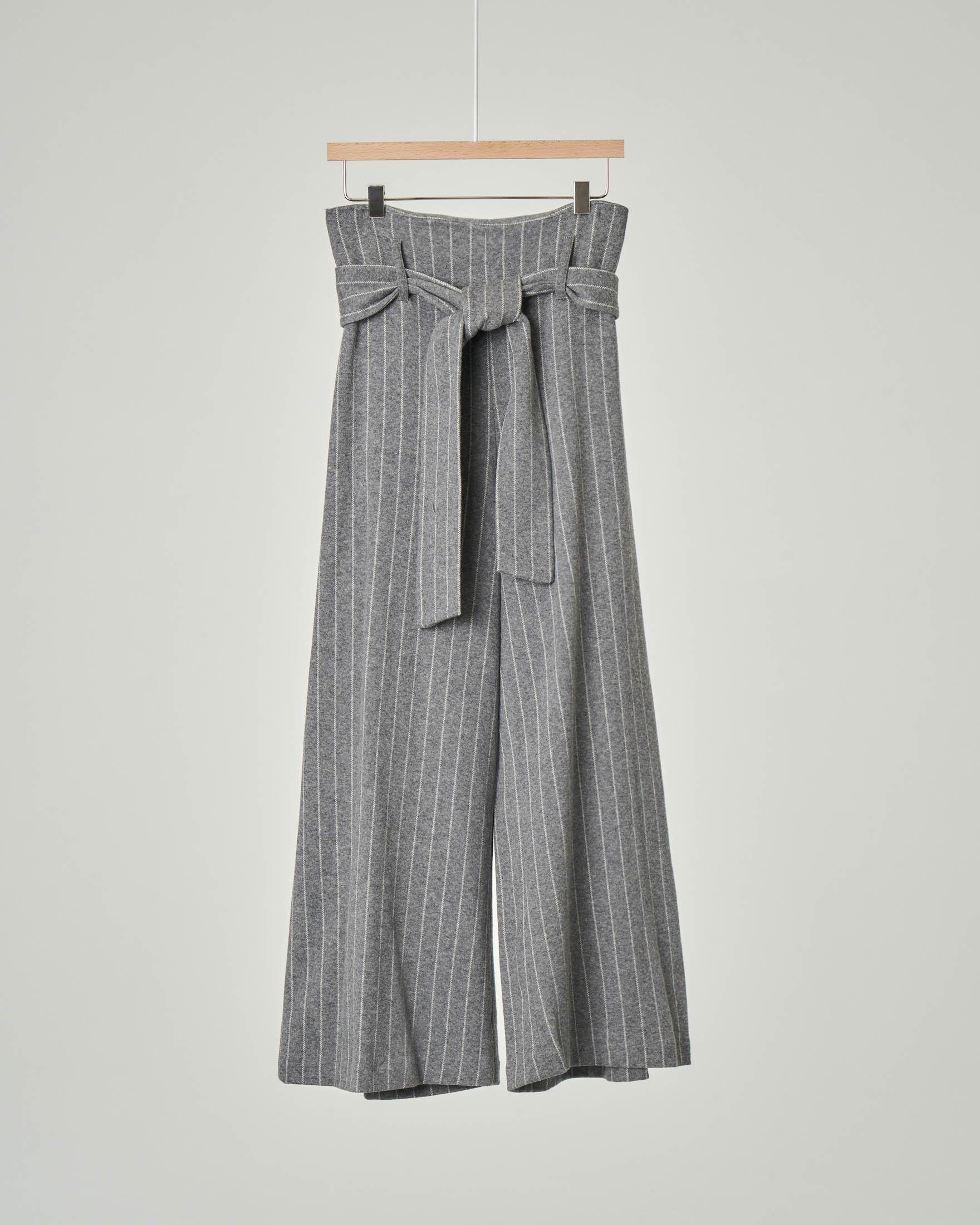 Pantalone grigio gessato cropped con cintura 32-38