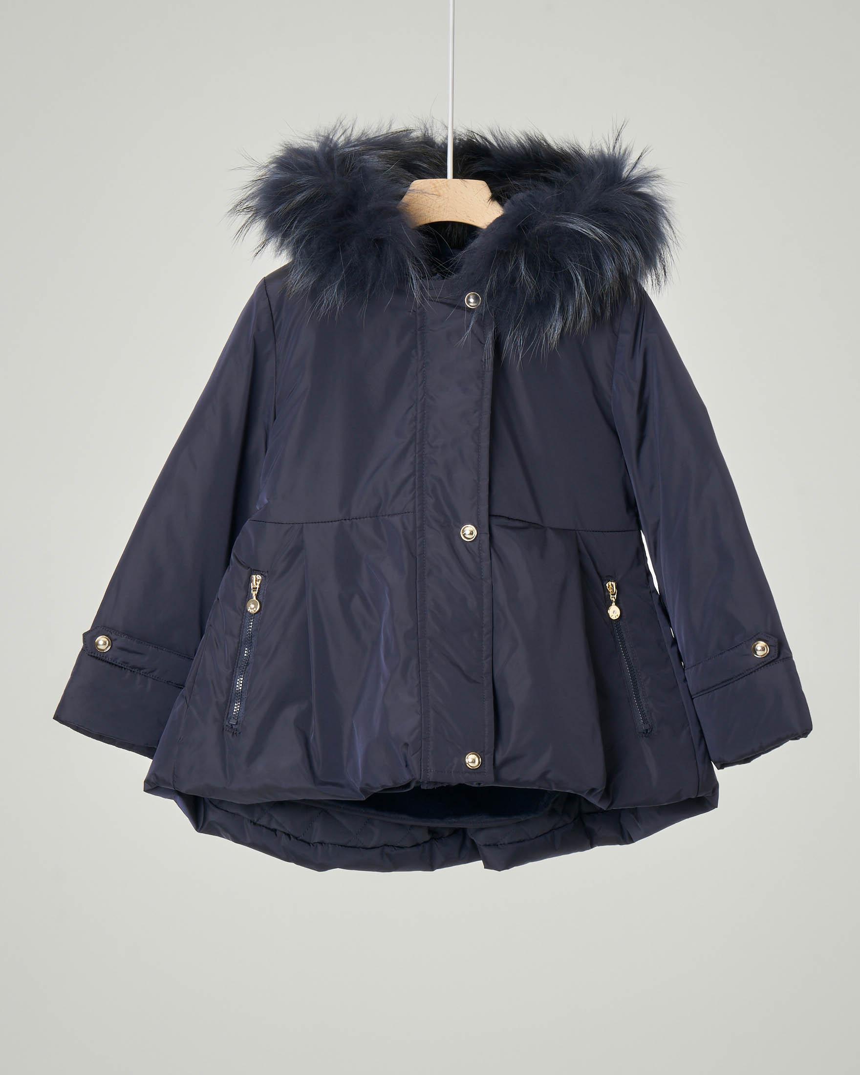 Cappotto blu con cappuccio e pelliccia staccabile 3-7 anni