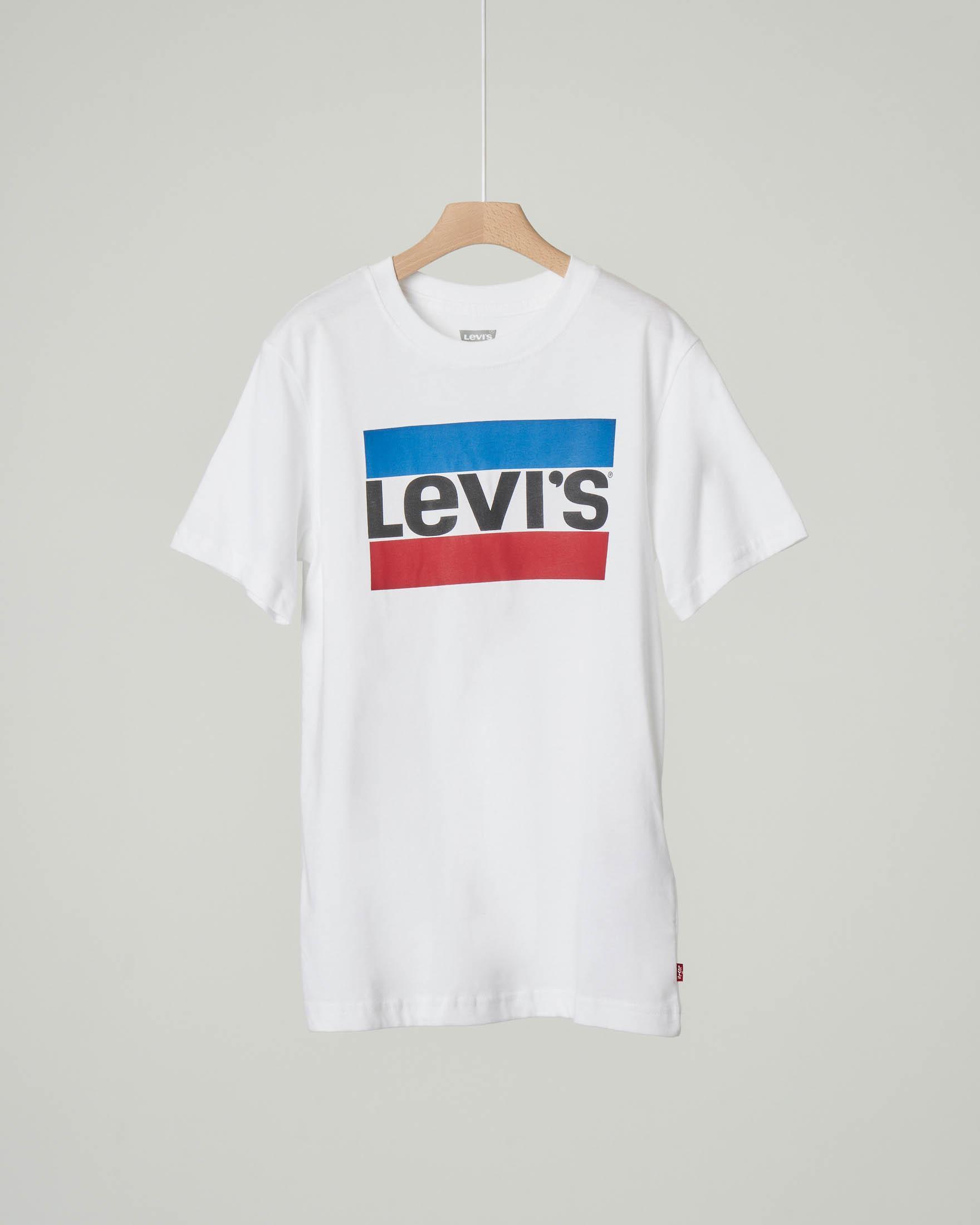 T-shirt bianca mezza manica con logo heroel stampato 10-16 anni