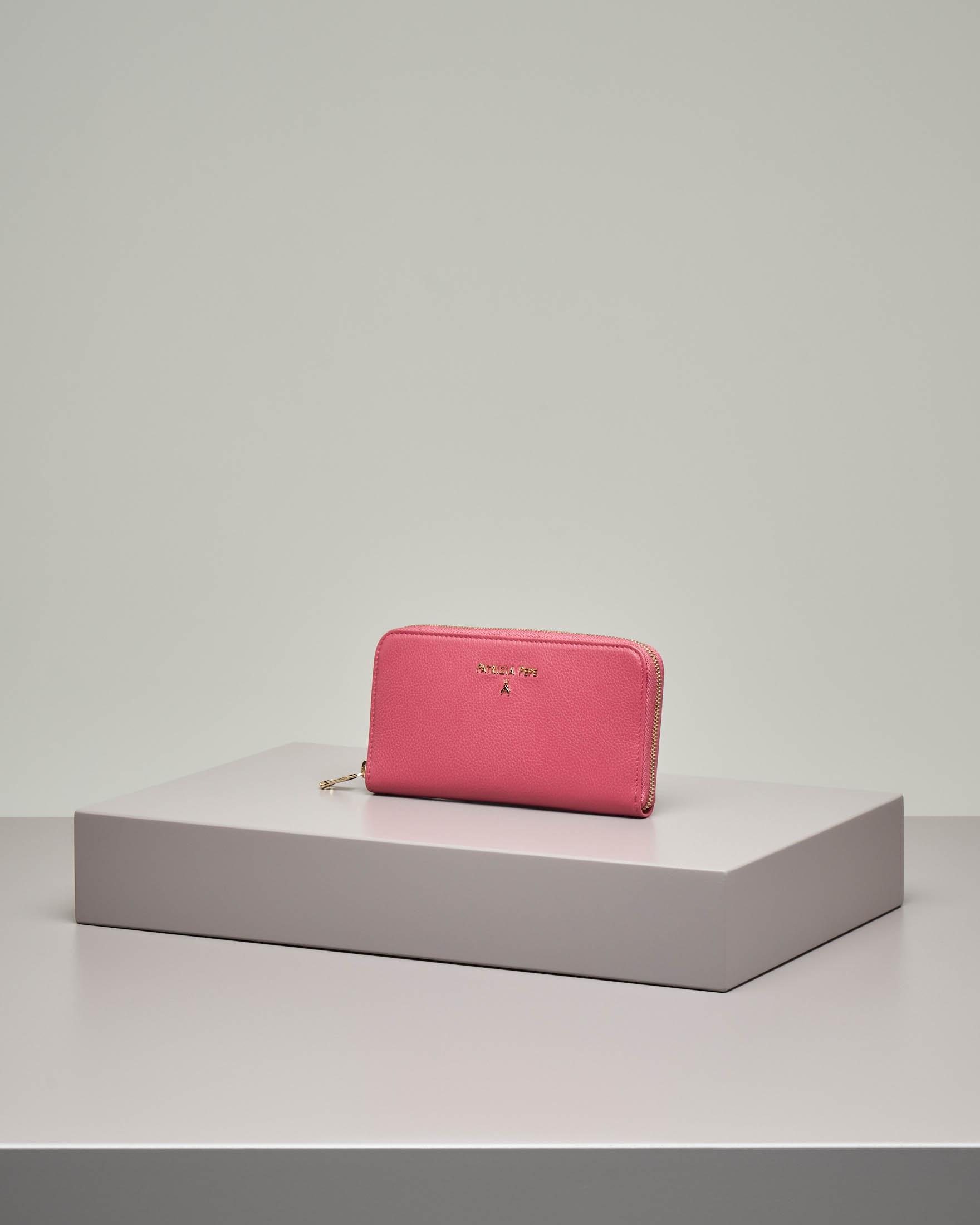 Portafoglio rosa in pelle effetto martellato con chiusura a cerniera misura grande