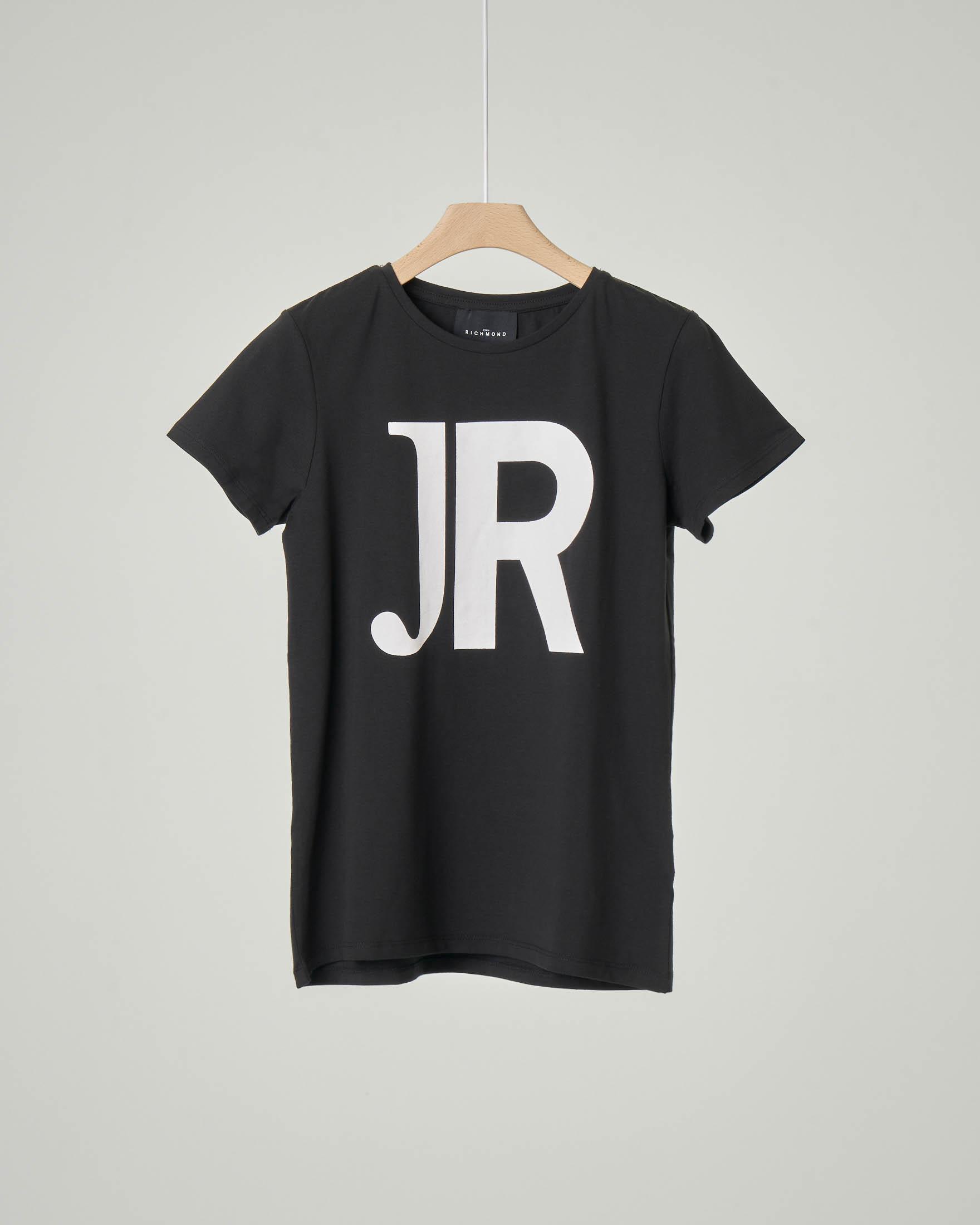 T-shirt mezza manica nera con JR bianco stampato davanti e logo sul retro 10-16 anni