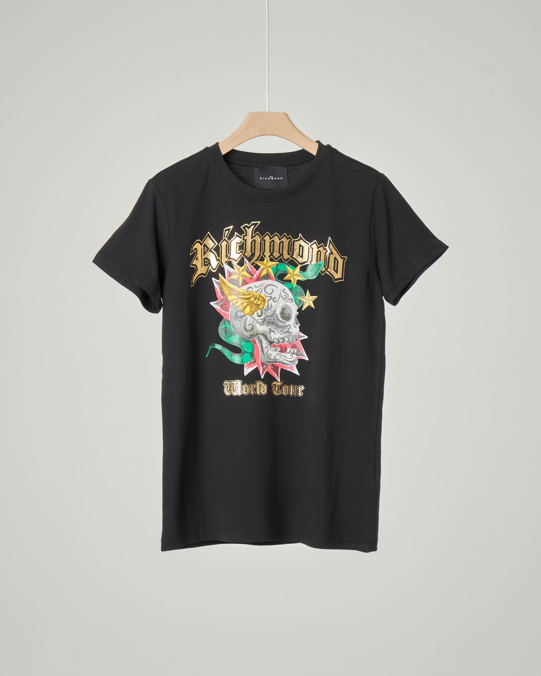 T-shirt nera mezza manica con logo e teschio 10-16 anni